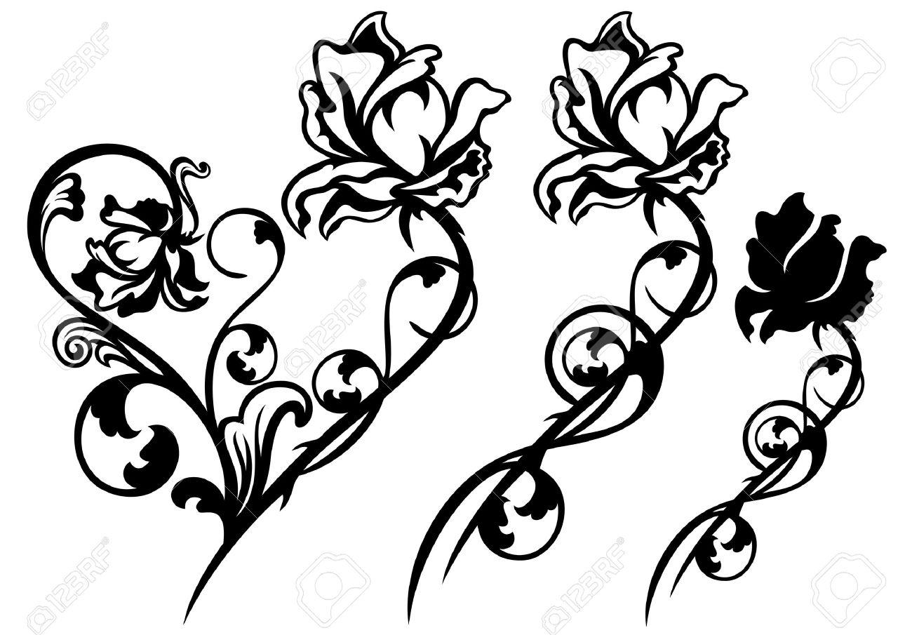 rose flower and stem floral decorative elements - black and white vector design set - 29760383