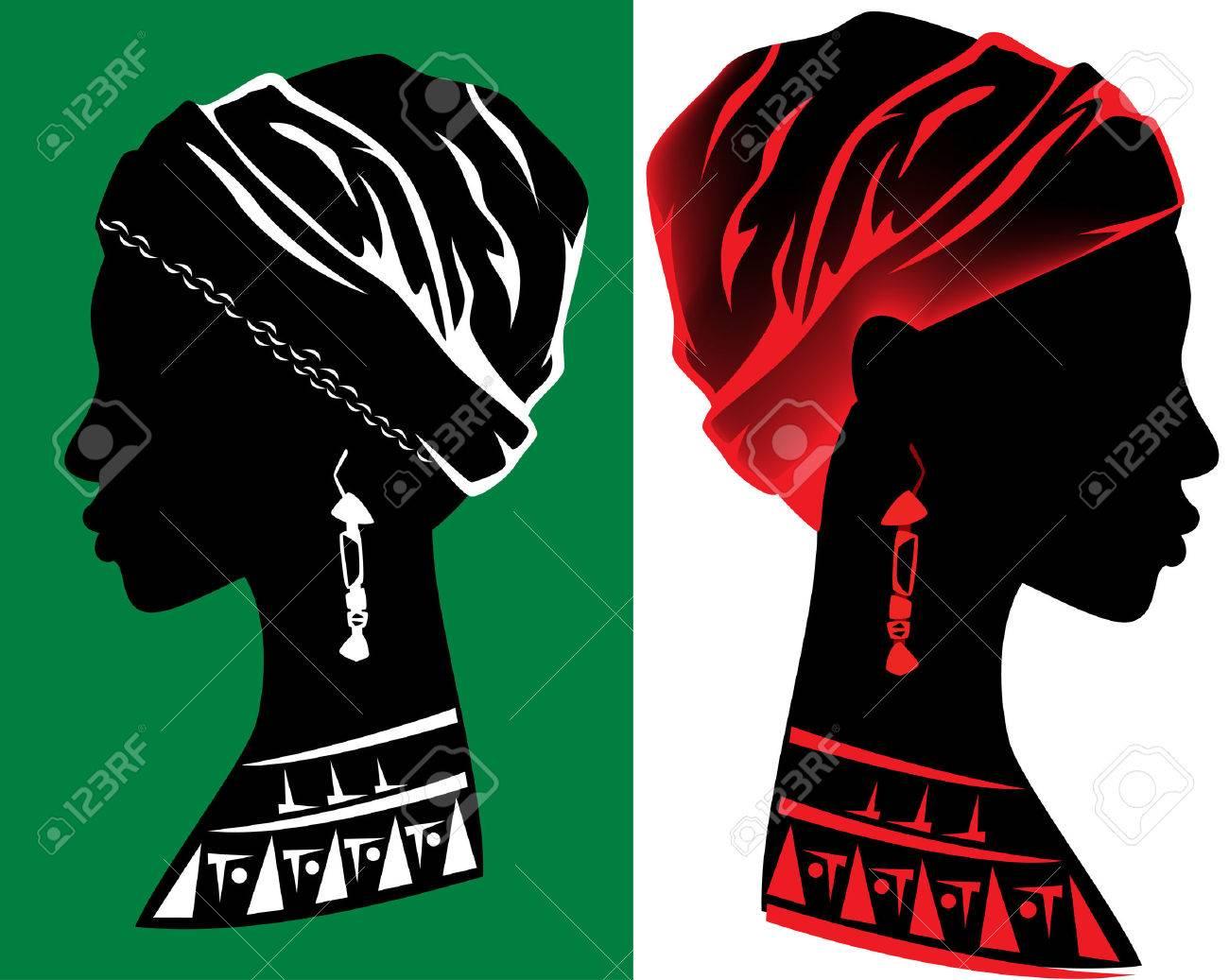 beautiful african woman head design - fine profile silhouette - 29856682