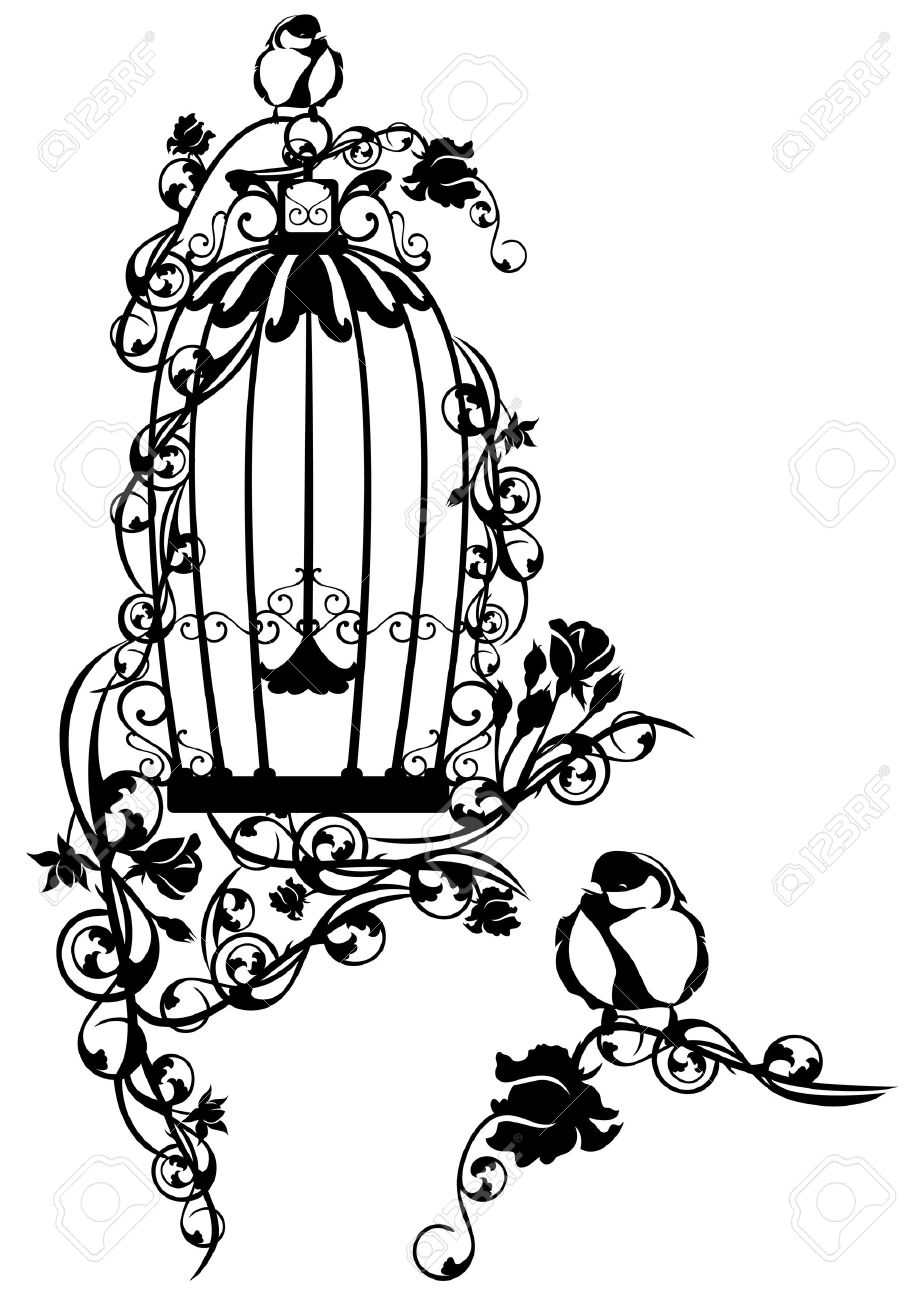 open bird cage twined with rose flowers with a little bird sitting free - 29856633