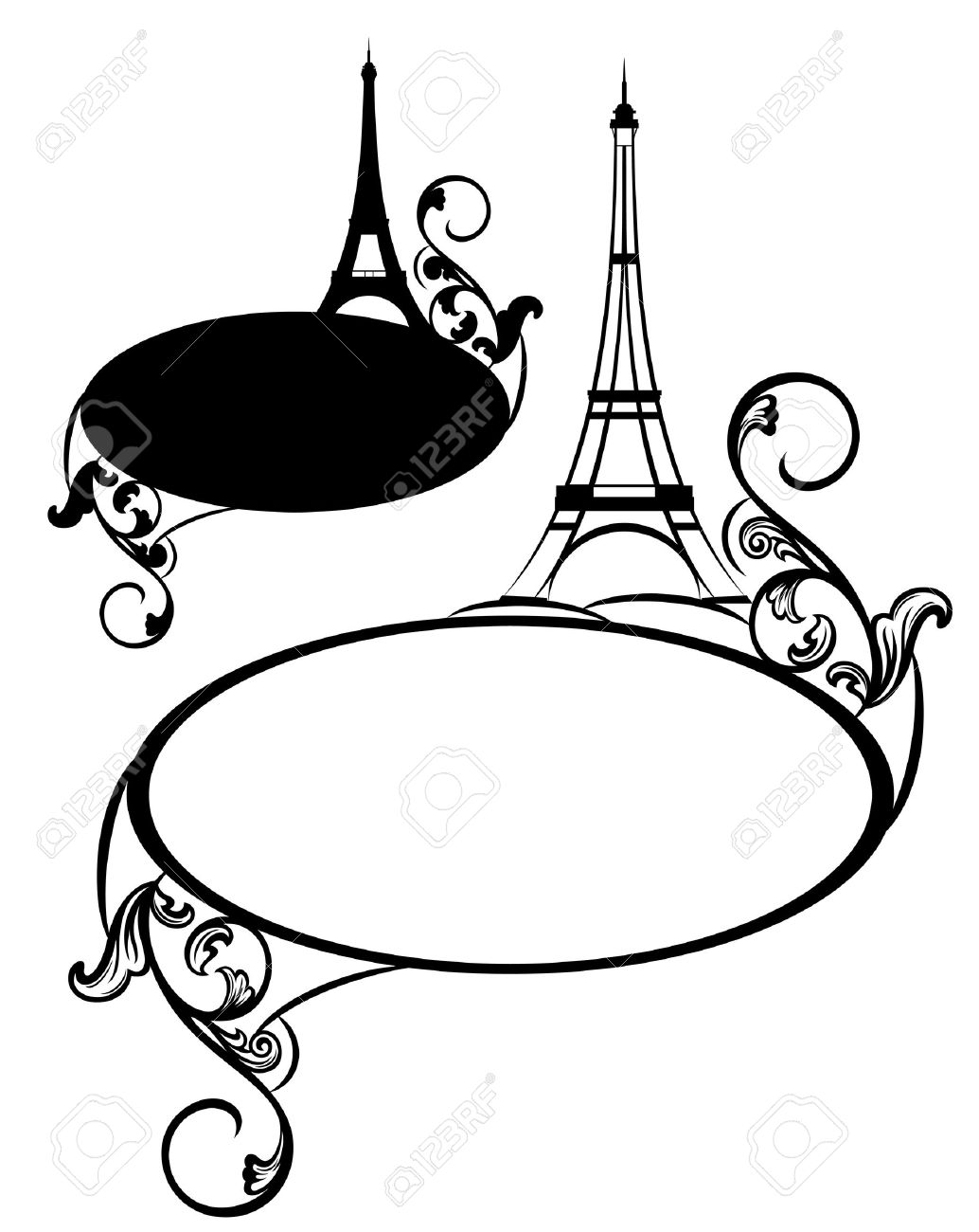 elegant frame with eiffel tower and decorative floral swirls - blank france theme vector border - 30219950