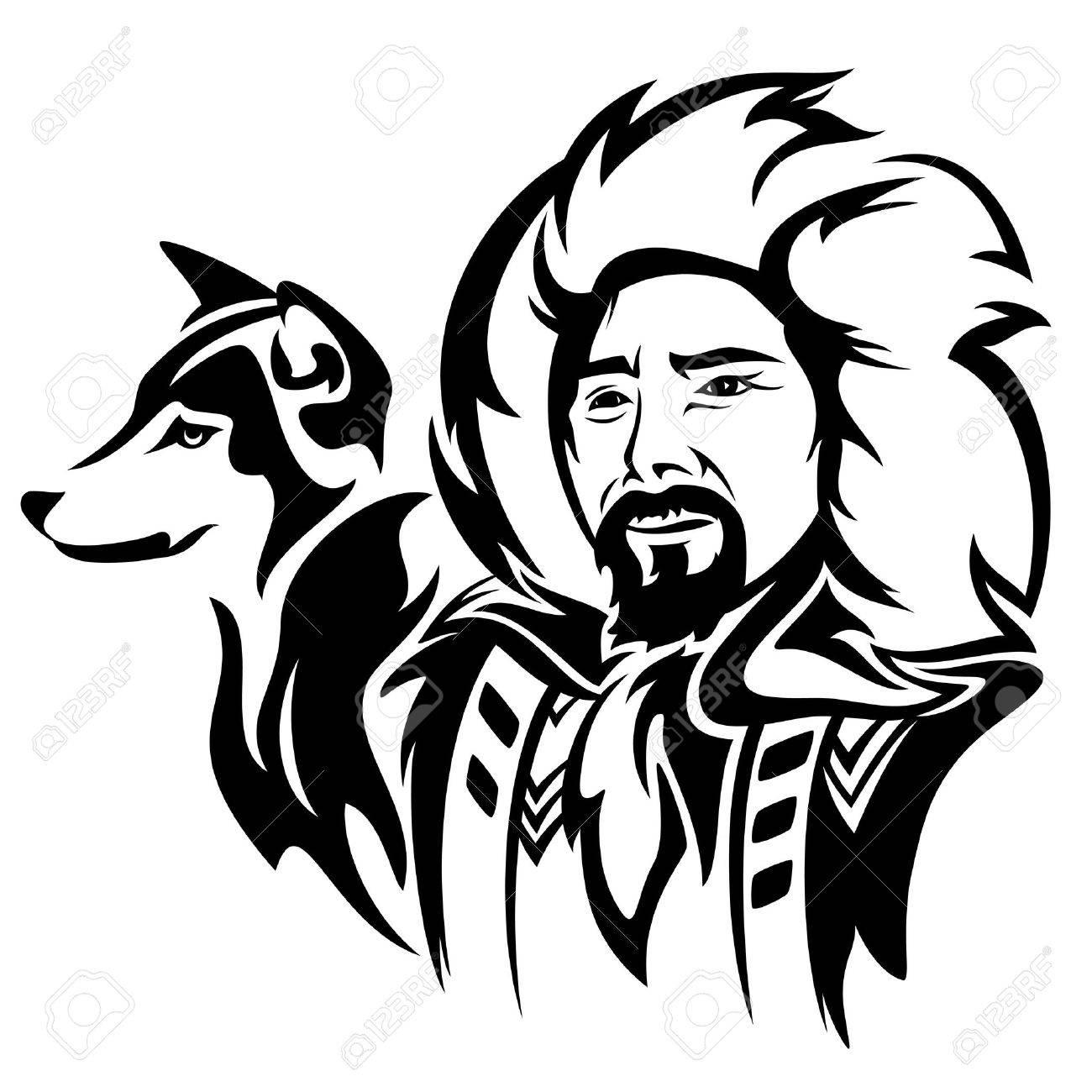 eskimo man with husky dog - black and white vector portrait - 30221150