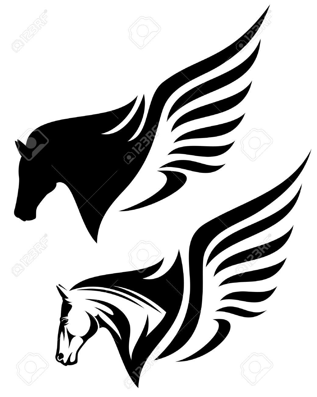 pegasus profile head design royalty free cliparts vectors and