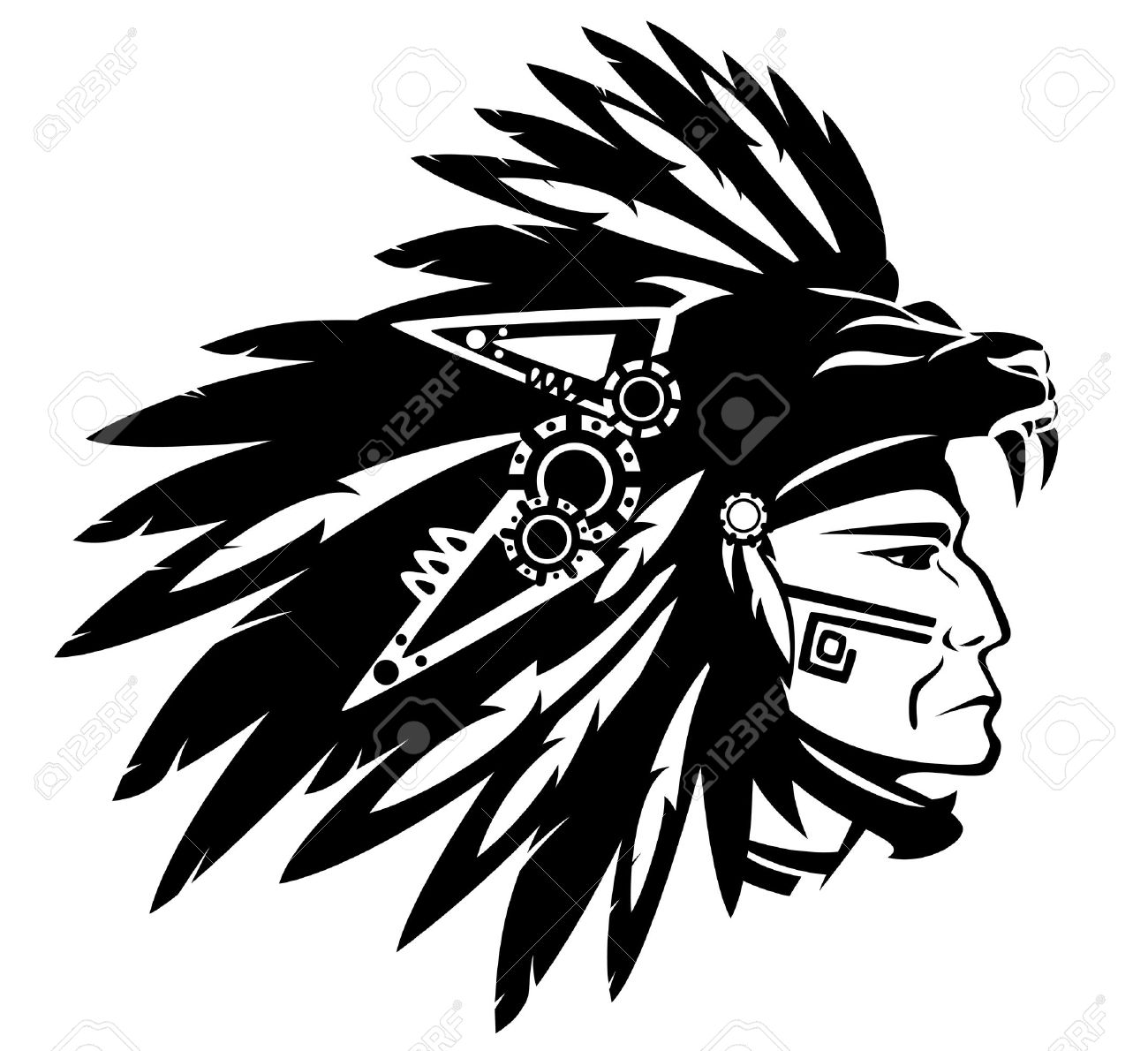 Aztec tribe warrior wearing feather headdress with panther head - 30535410