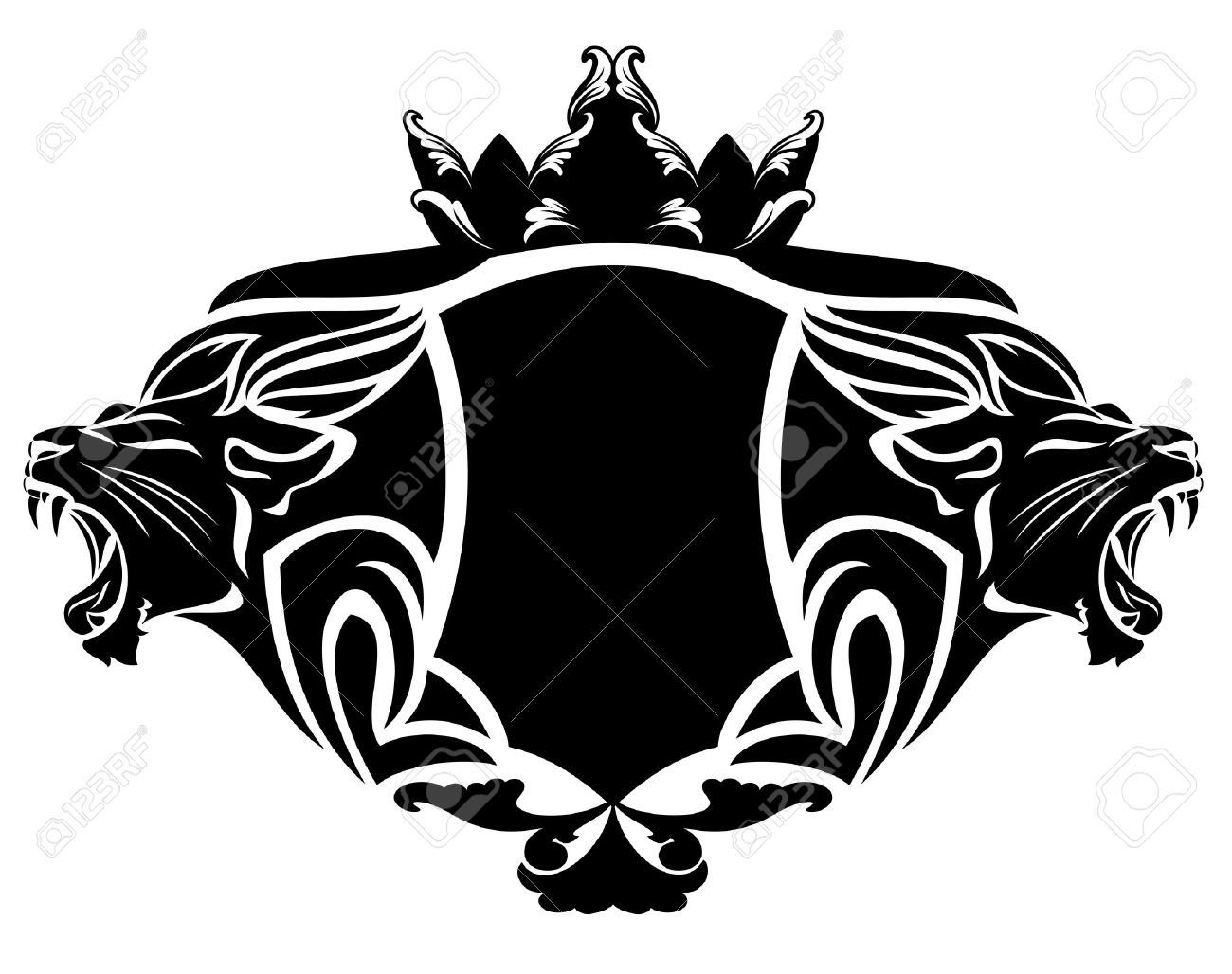 royal lion with crown black and white design element - 30537095