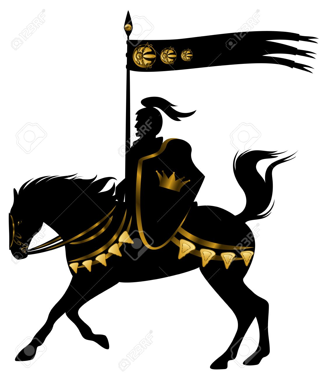 knight in black and gold armor with a spear standard riding a horse with golden decor - 30543050