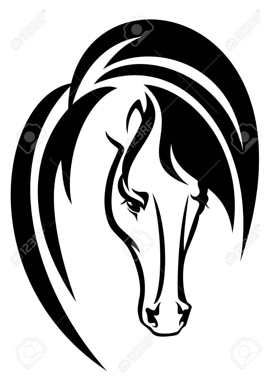Tête De Cheval Noir Et Blanc Dessin Vectoriel Simple Animal Aperçu De Portrait