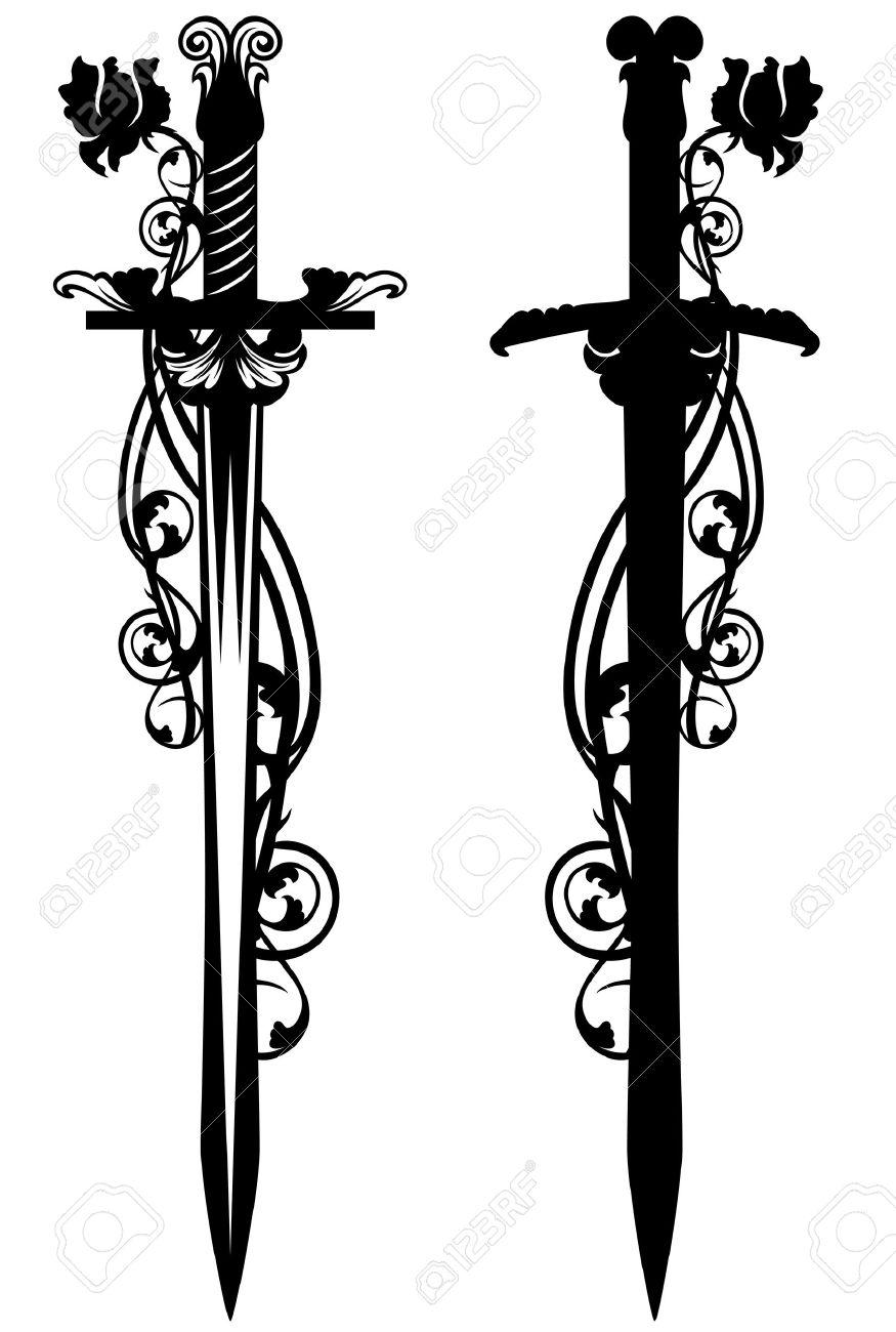 ancient sword among rose flower stems - black and white vector design - 30889620