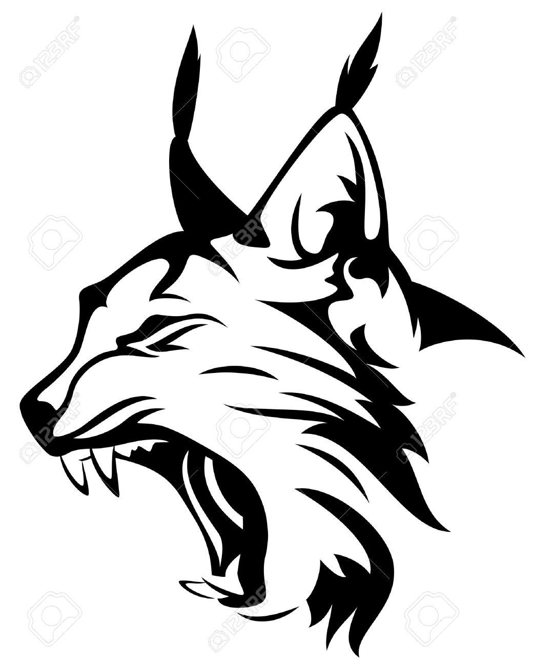 wild lynx head mascot - black and white animal design - 30905180