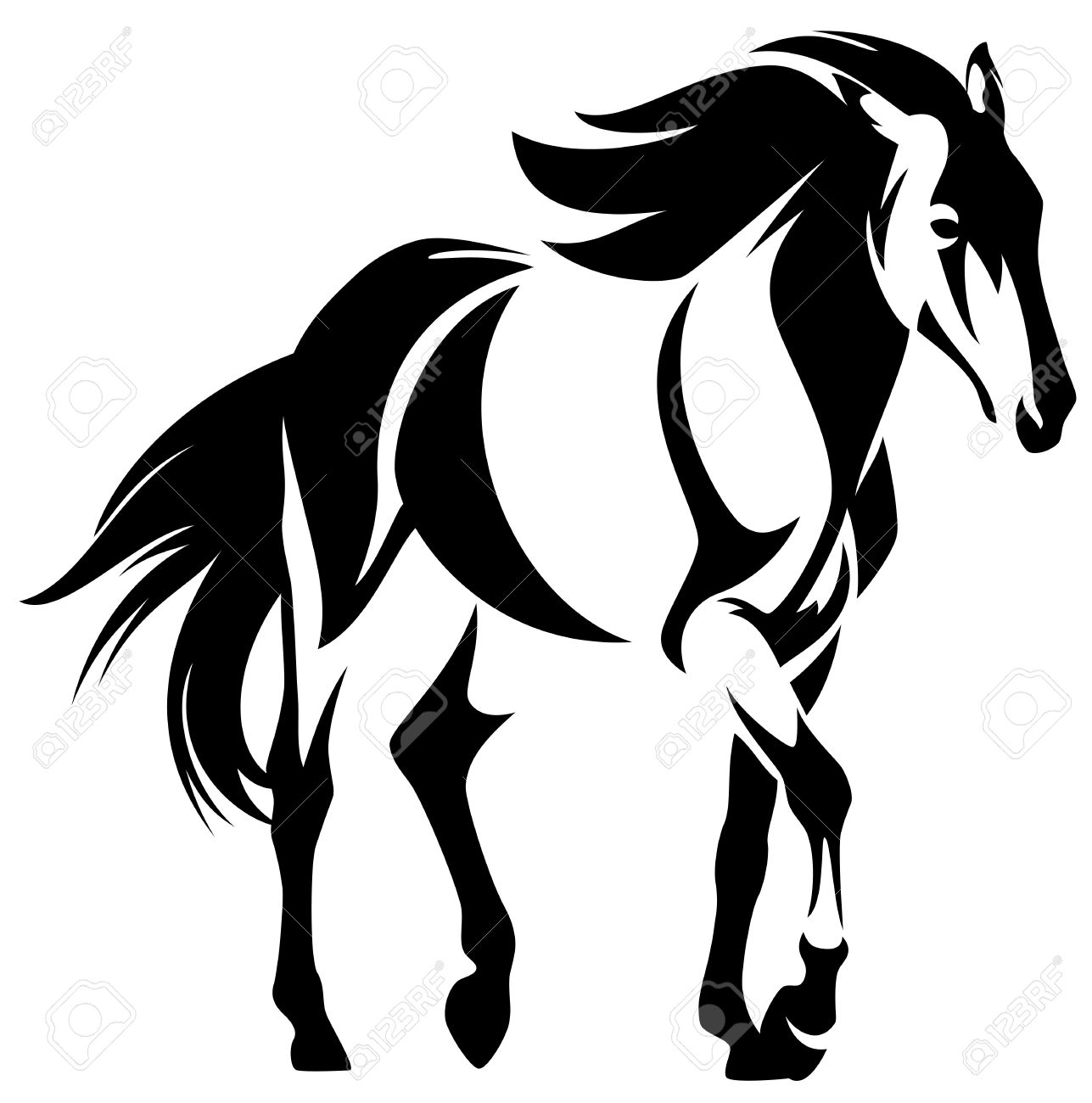 wild horse black and white outline - mustang vector design - 31379903