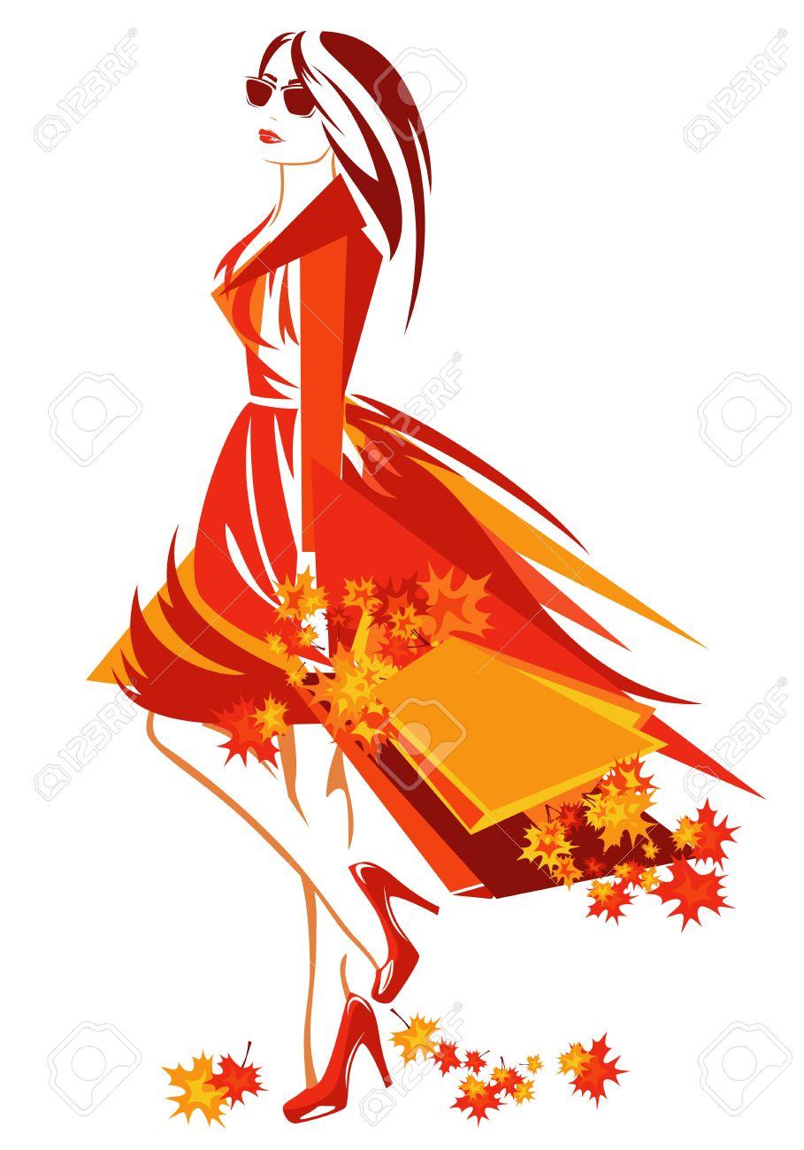 autumn season shopping vector design - beautiful woman with bags among bright foliage - 31383005