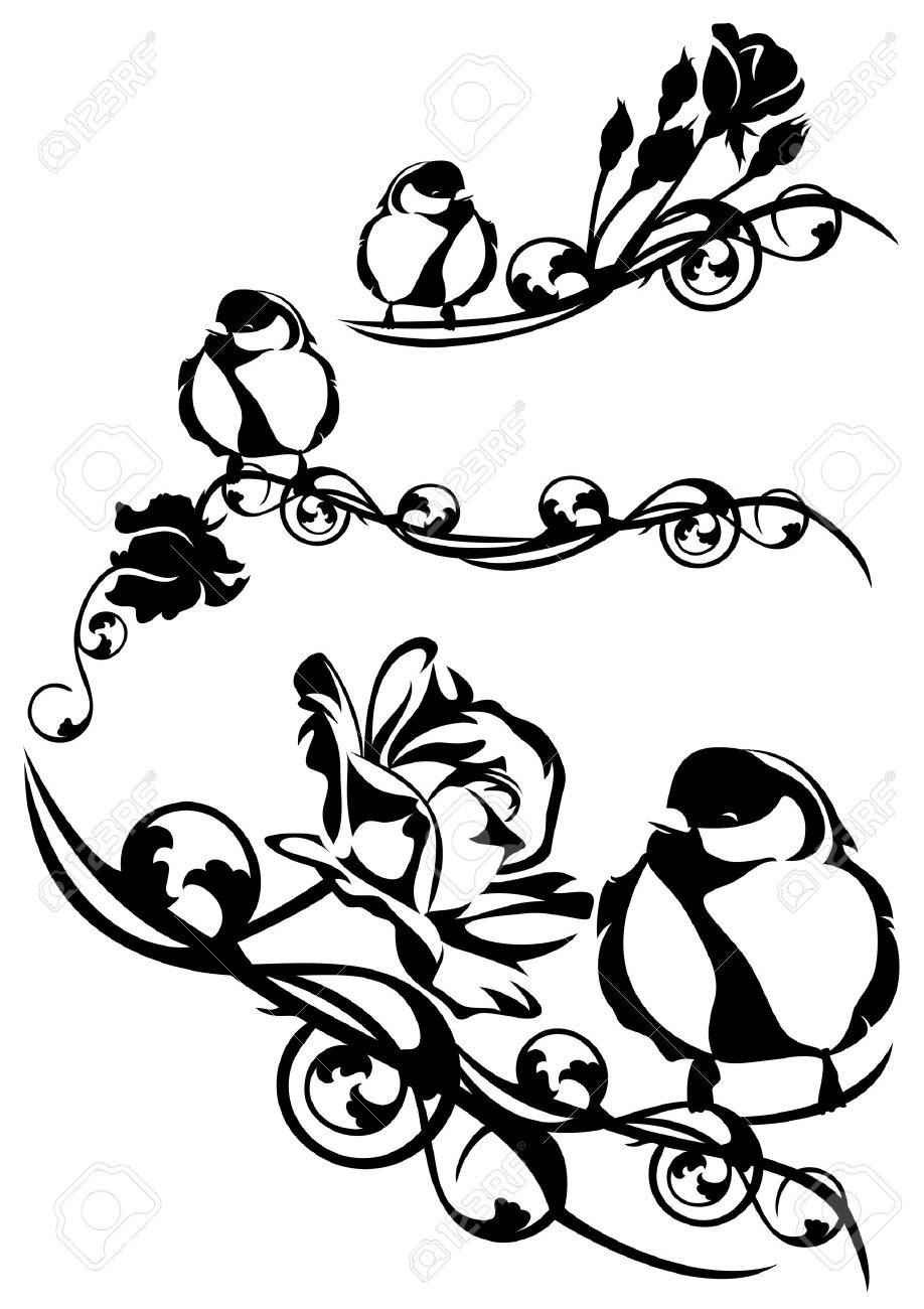 Petit Oiseau Mignon Parmi Les Fleurs Roses Noir Et Blanc élément De Dessin Vectoriel