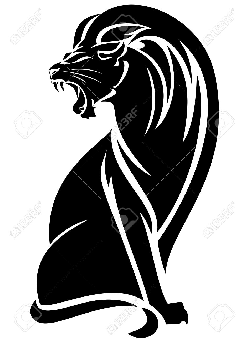 Sitting Lion Black And White Vector Outline