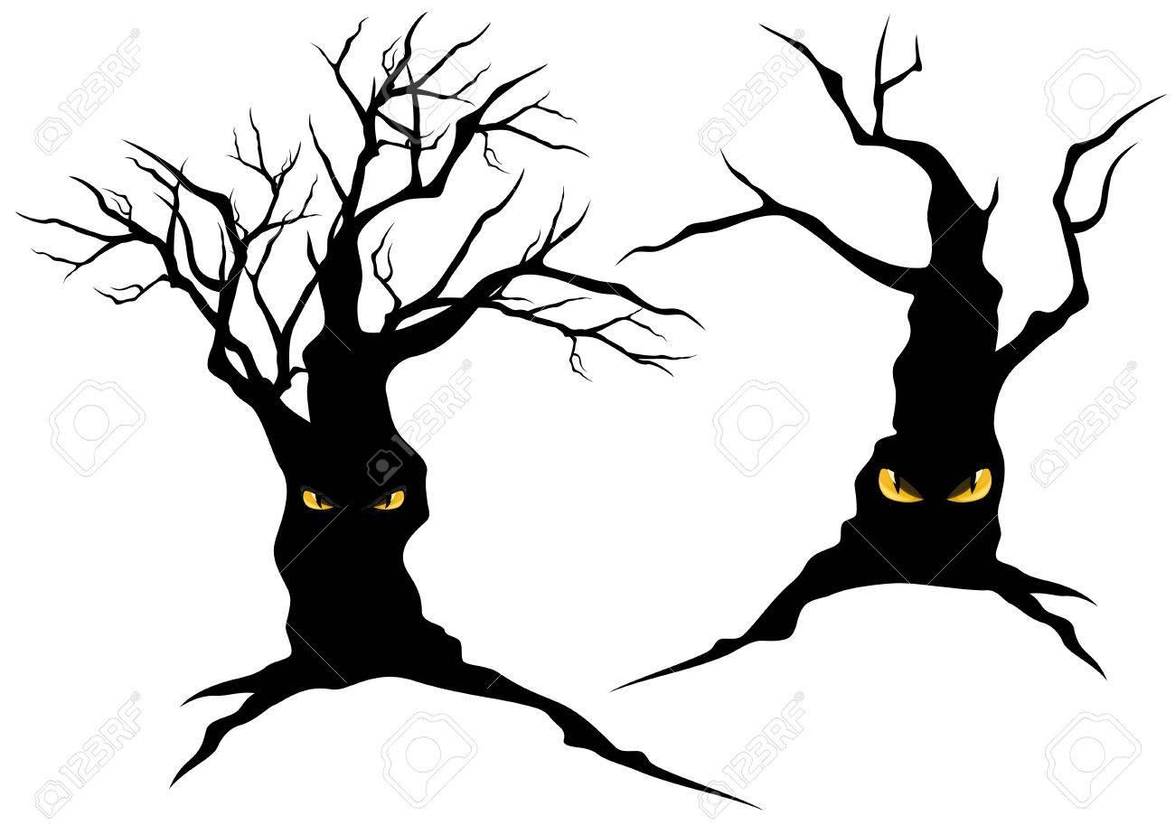 creepy halloween trees with evil eyes set monster vector rh 123rf com Halloween Eye Makeup Clip Art Ghost Eyes Clip Art