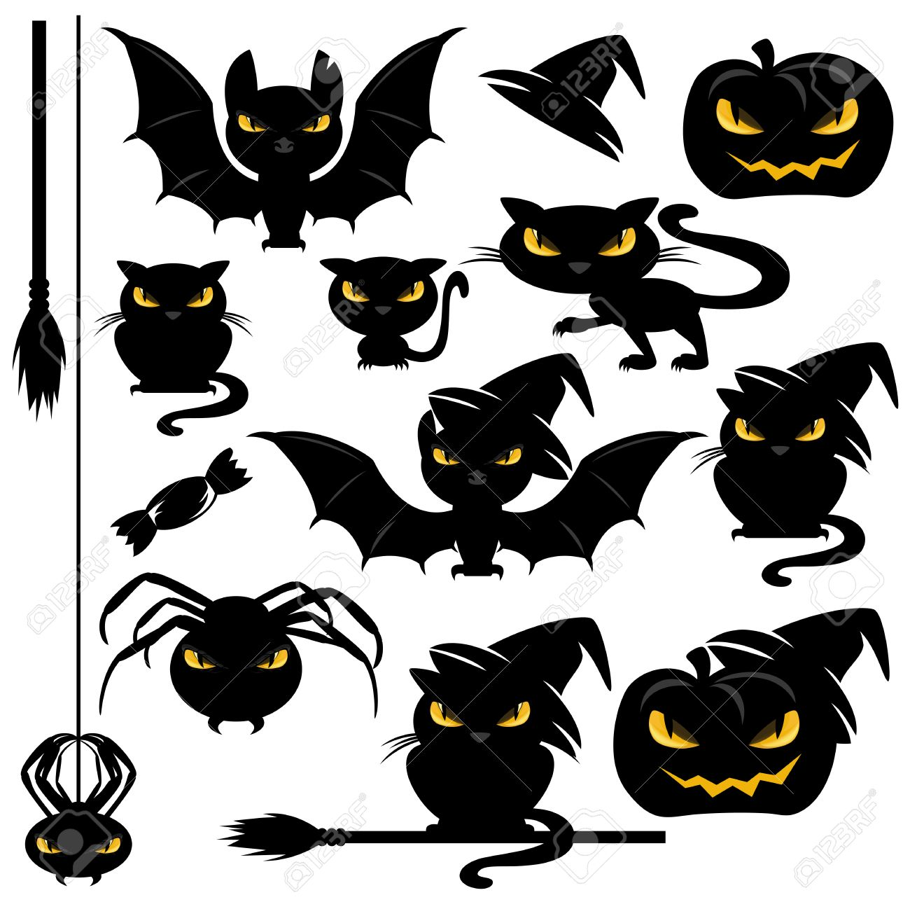 halloween monster design elements set funny vector animals rh 123rf com Disney Halloween Clip Art Disney Halloween Clip Art