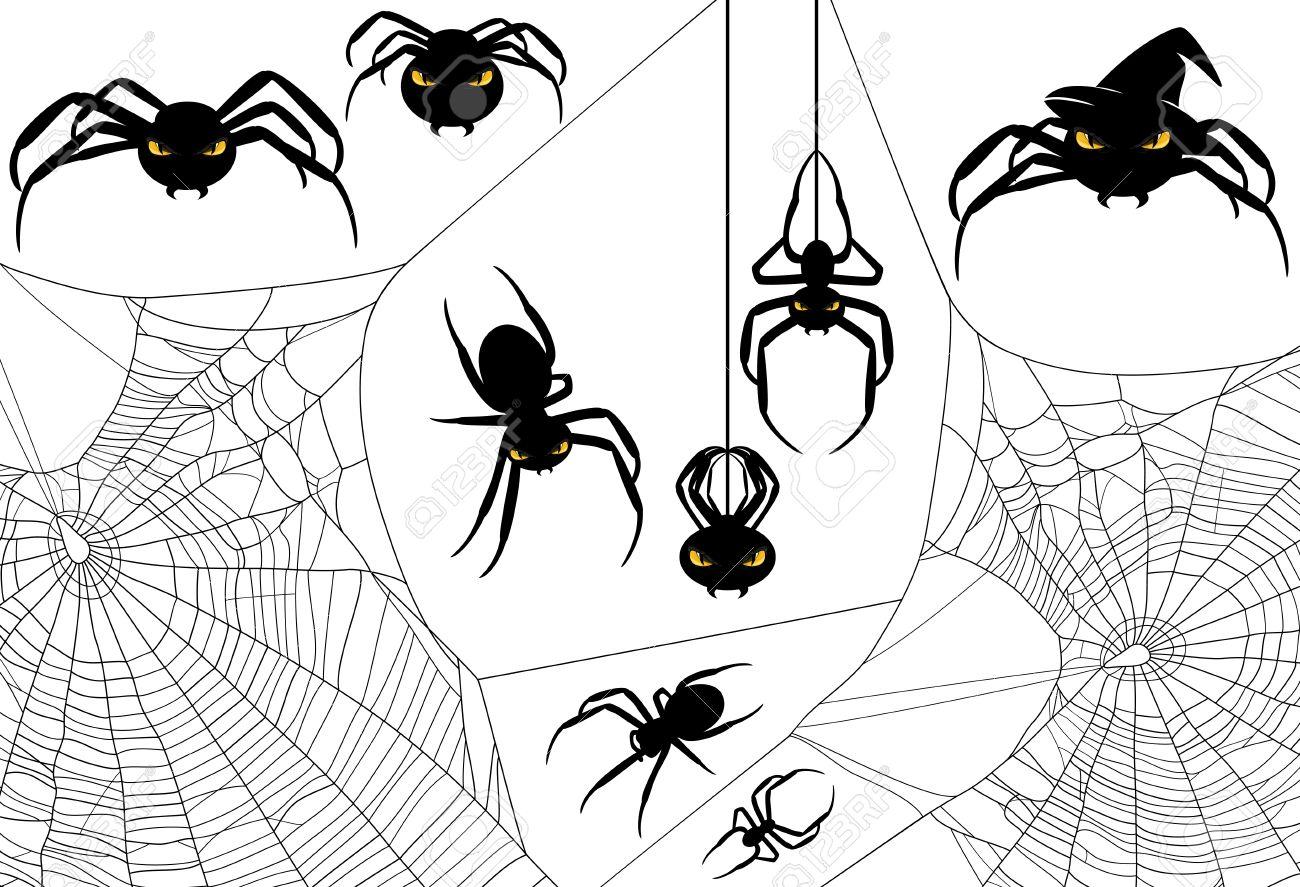 halloween spider design set - monster arachnids among spiderweb