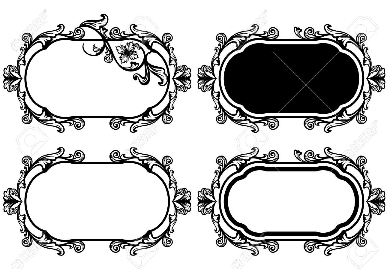 Elegant Floral Frame Vector Design Set - Black And White Vintage ...