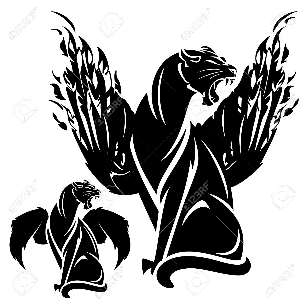 Set with africa animals black white stock vector 169 insima - Profile Wings Furious Winged Panther Black And White Fantasy Animal Vector Design Illustration