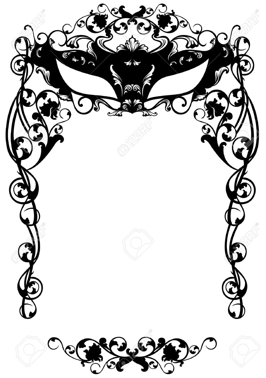 Invitation To Masquerade Party With Carnival Mask Black And