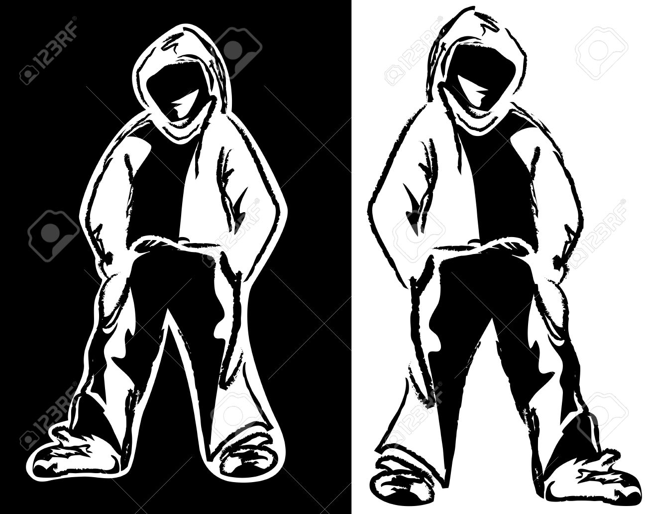 urban street style guy - young man wearing hoodie black and white vector design - 34347262
