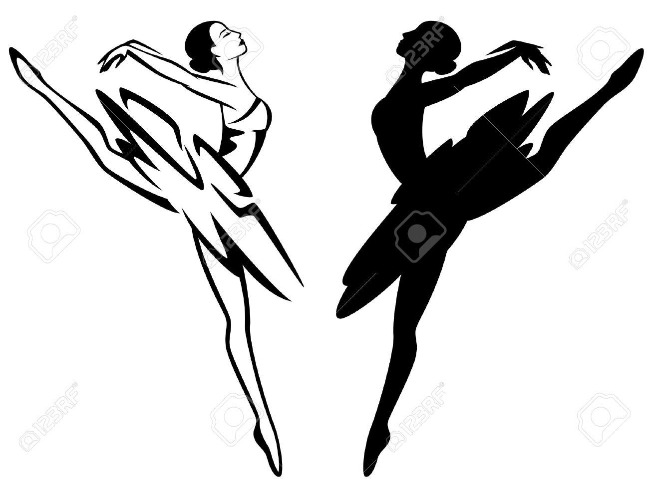 99d3f0f7b883 Ballet Dancer Girl - Black And White Ballerina Outline And Vector ...
