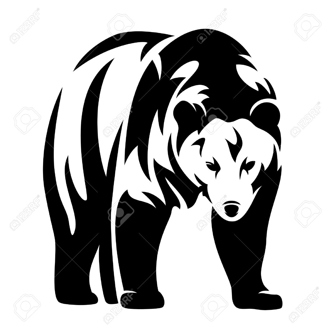 grizzly bear black and white vector design - standing animal monochrome outline - 35581297