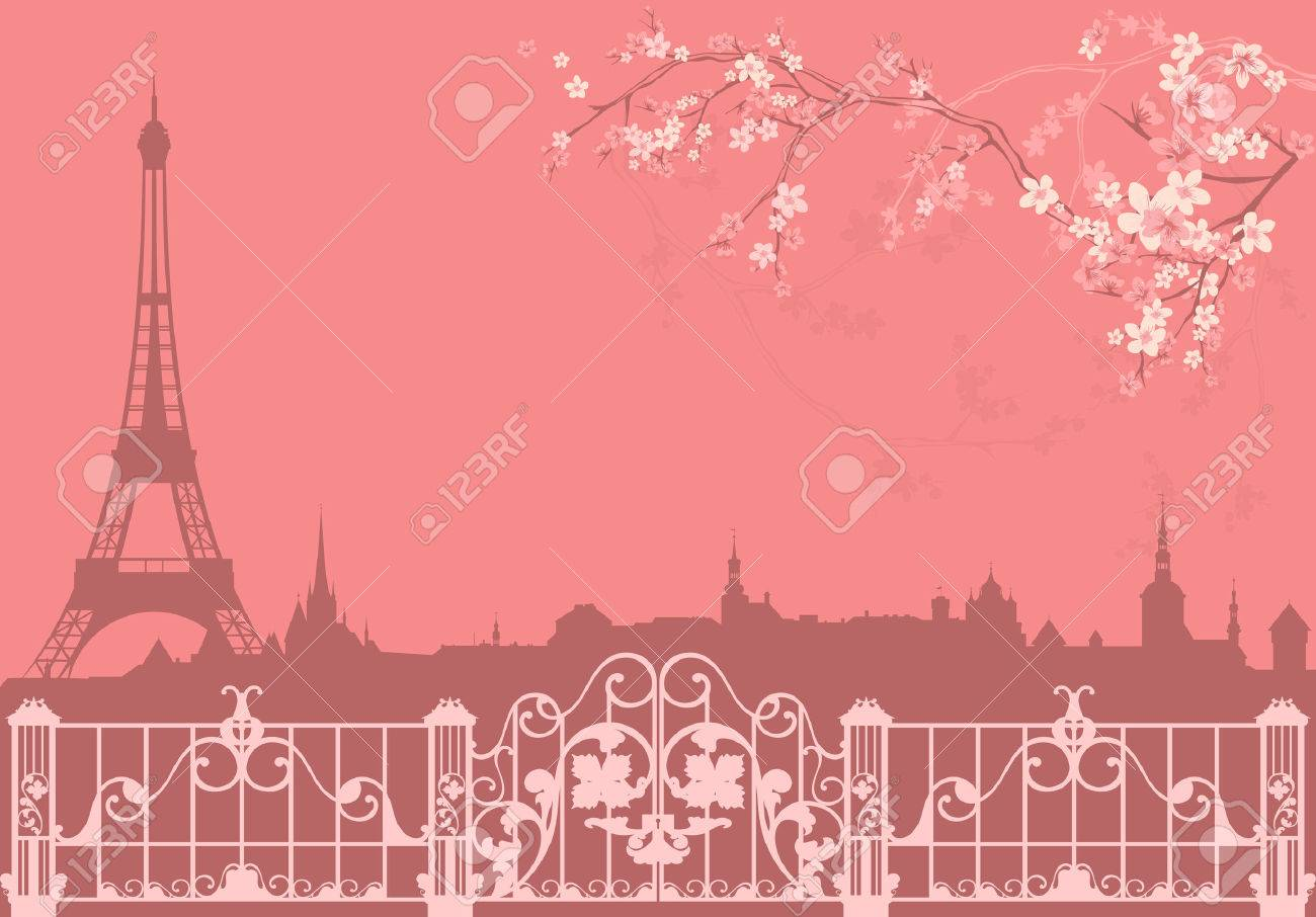 spring Paris vector background - eiffel tower and roofs silhouette among flowers - 36077131