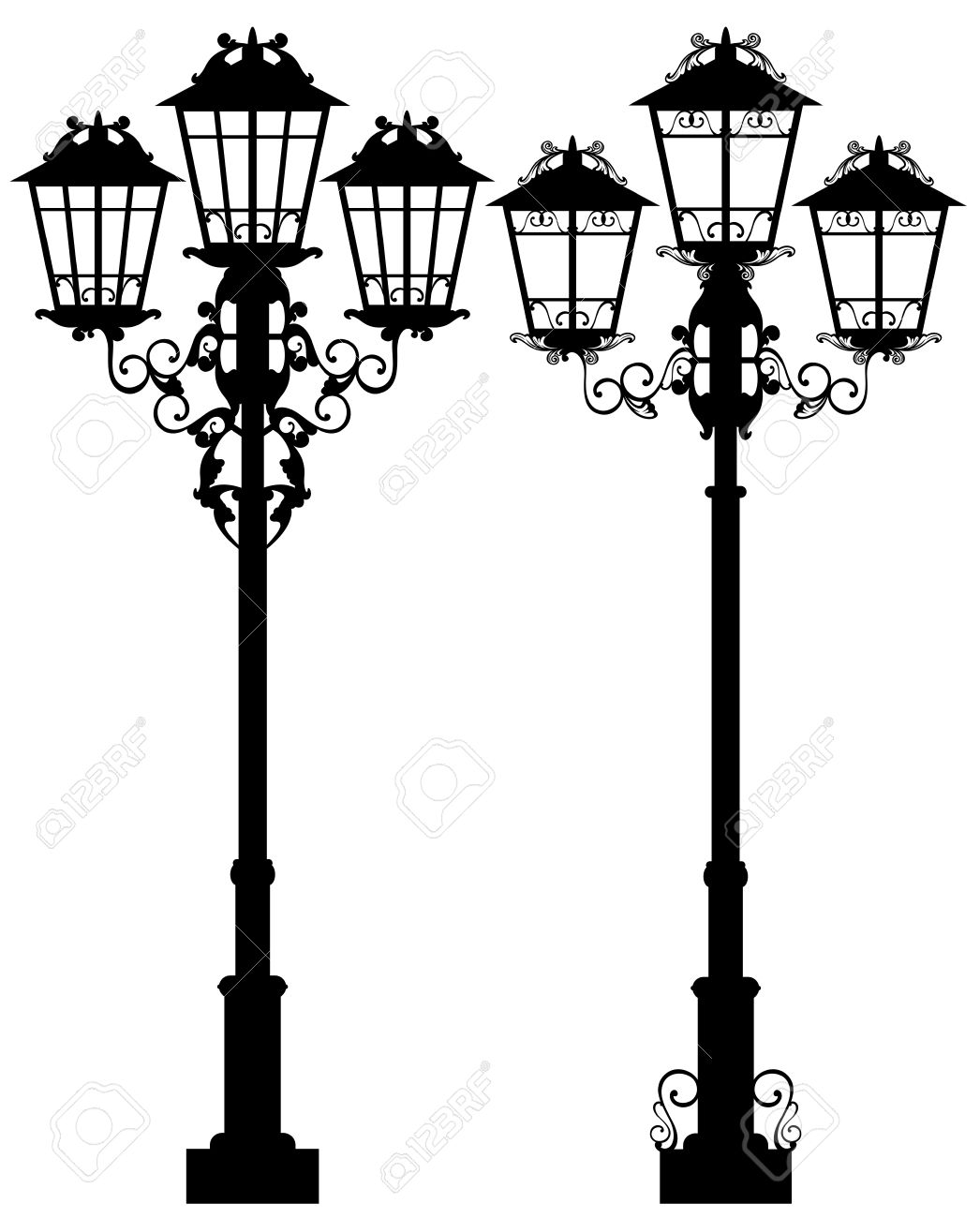 Elegant Street Light Design   Ornate Lamp Black And White Vector  Silhouettes Stock Vector   36125416