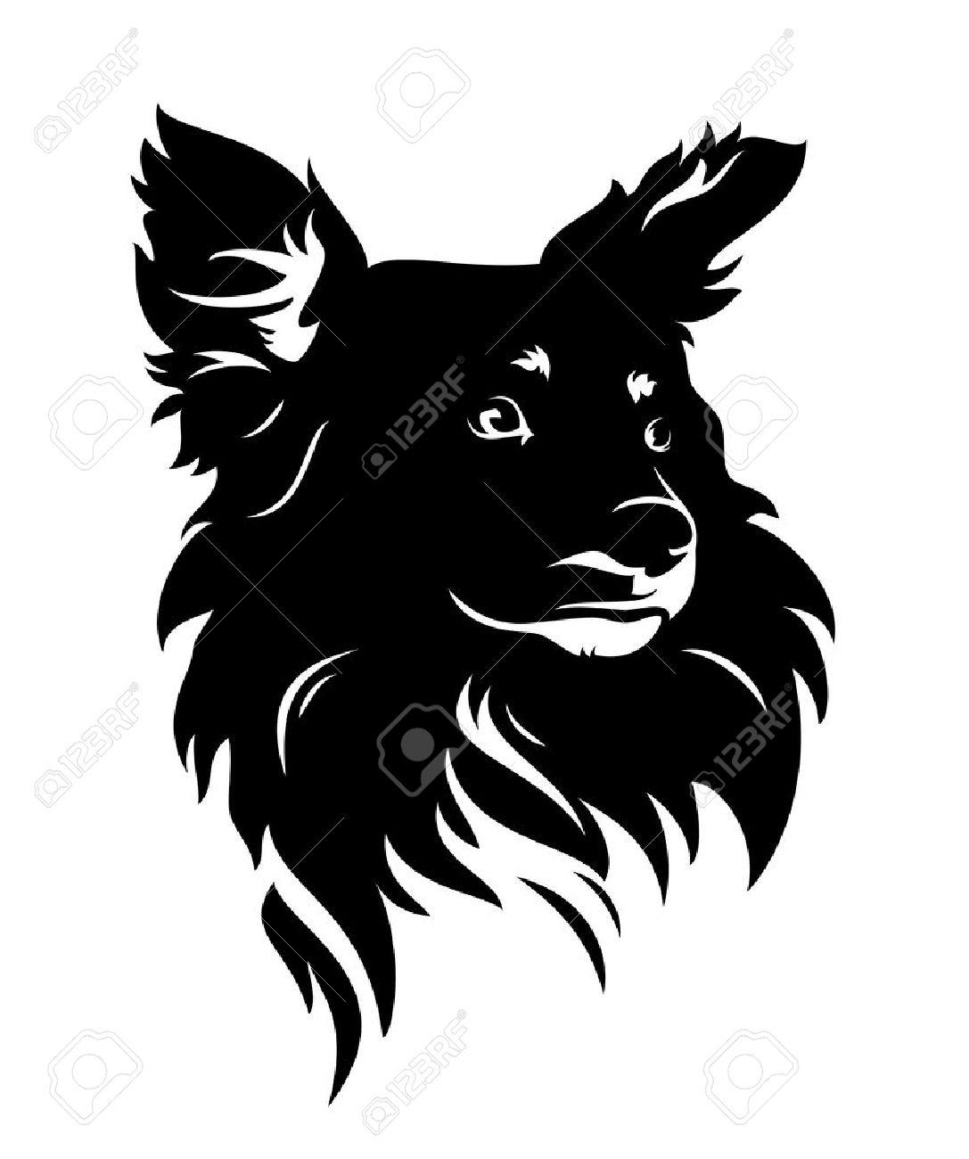 cute dog head - black and white puppy vector portrait - 38108106