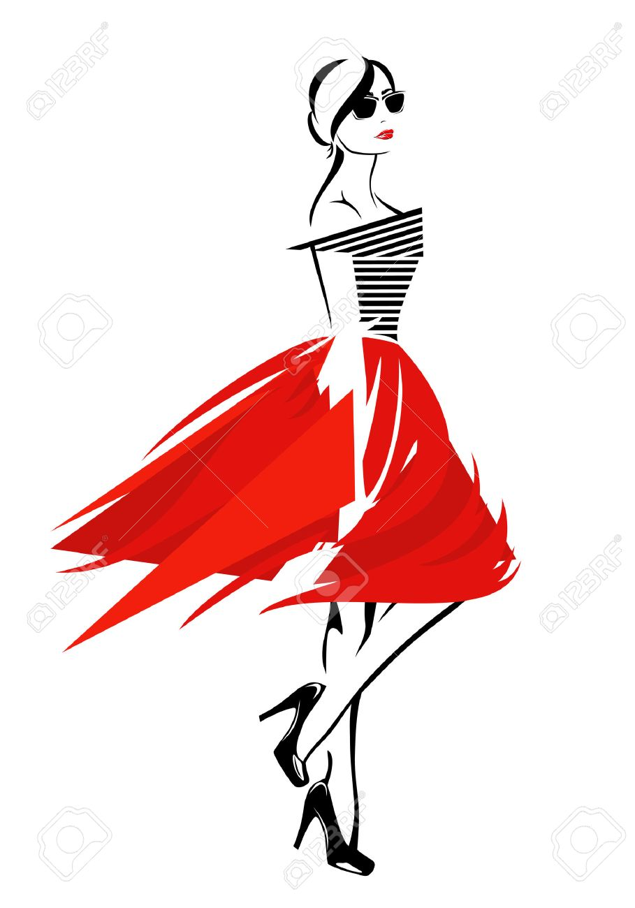 fashion girl in red skirt and striped top trendy vector design rh 123rf com fashion vector art fashion vector images