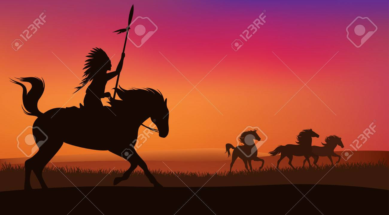 wild west scene with horses and native american rider - vector landscape with silhouettes - 38974418
