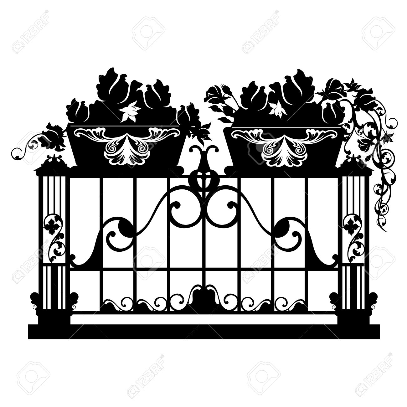 Elegant Iron Balcony With Rose Flower Pots Black Anw White
