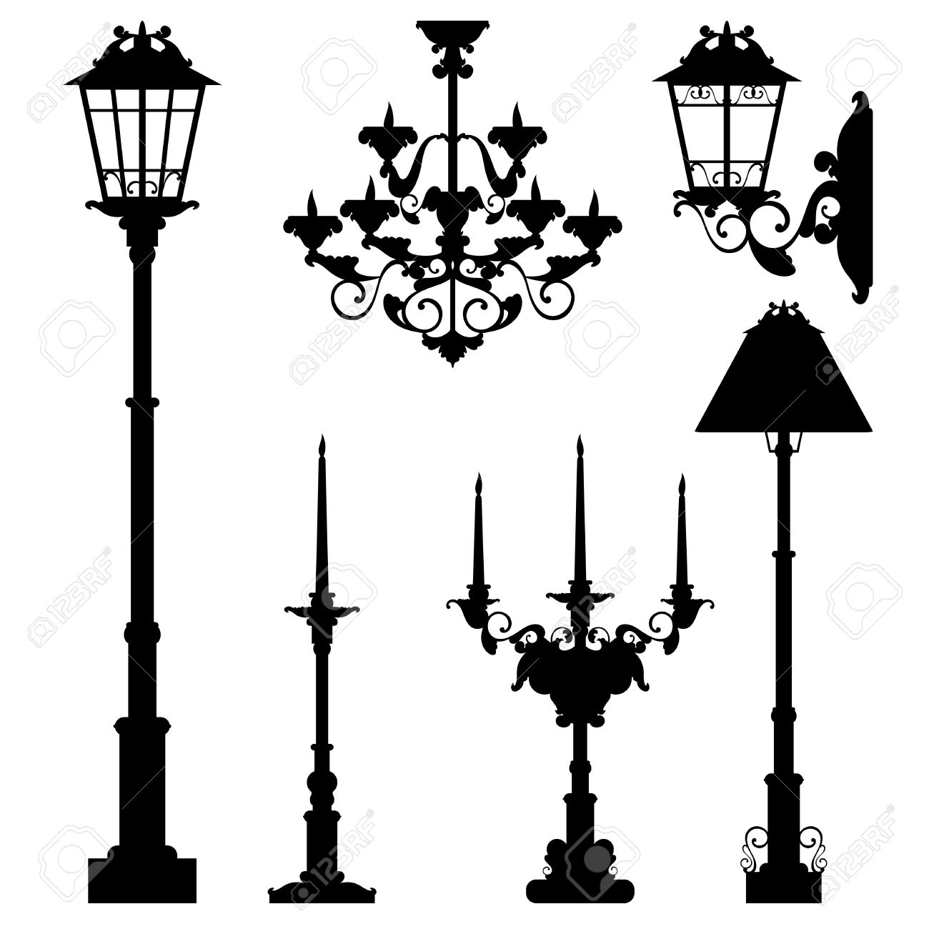street lamps and interior lighting collection - black vector silhouettes set - 40402579