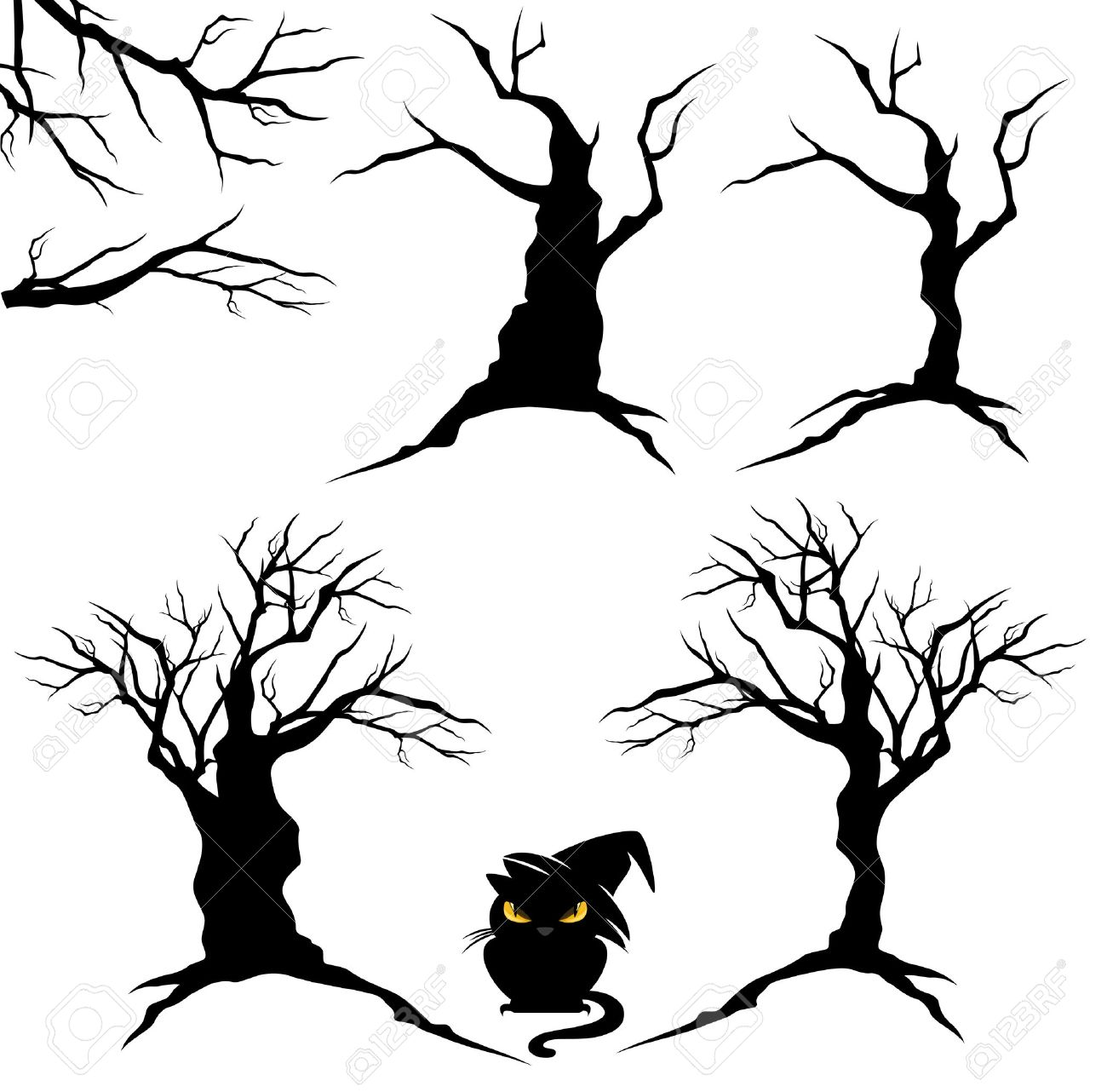 creepy trees with twisted trunks and branches - black and white halloween vector design set - 43286792