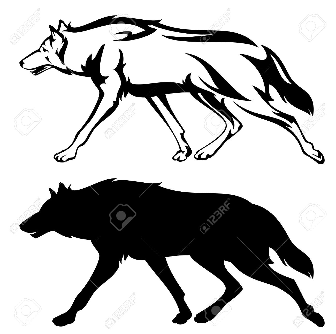 running wolf outline and silhouette - black and white vector design - 46101926