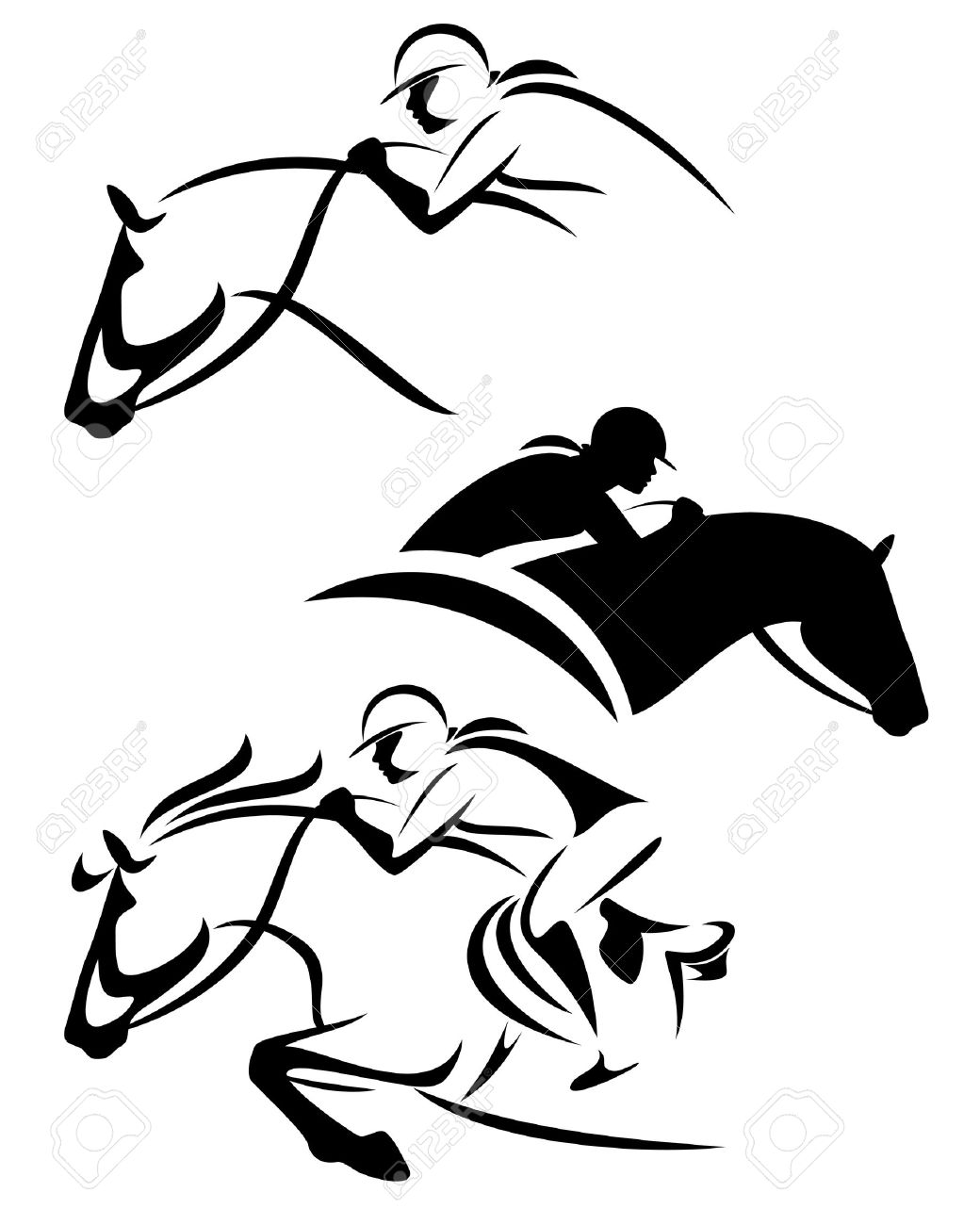 female rider - jumping horse outline and silhouette black and white vector set - 47112477