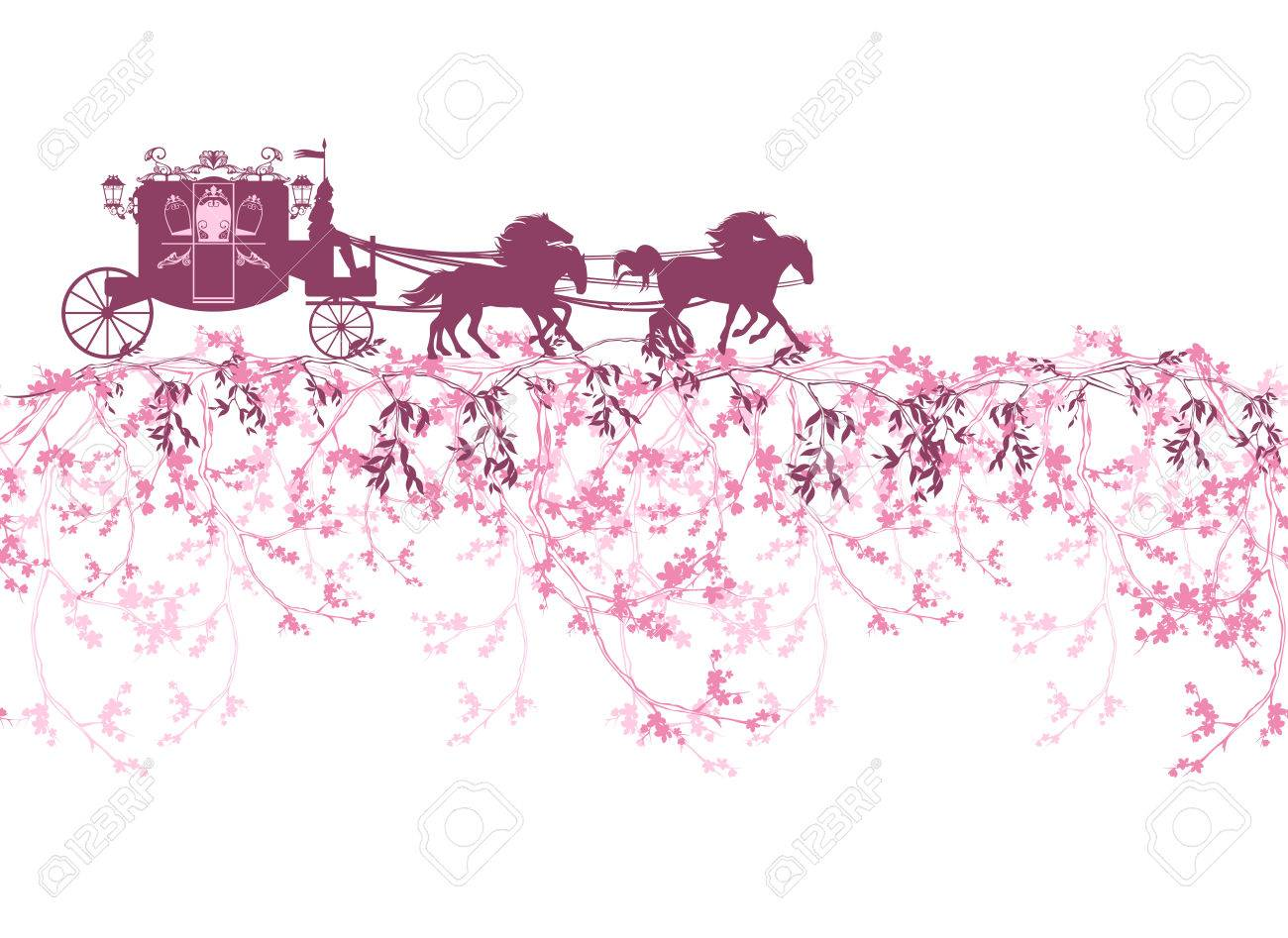 horizontally seamless border with blooming branches, flowers and a carriage - 53276156
