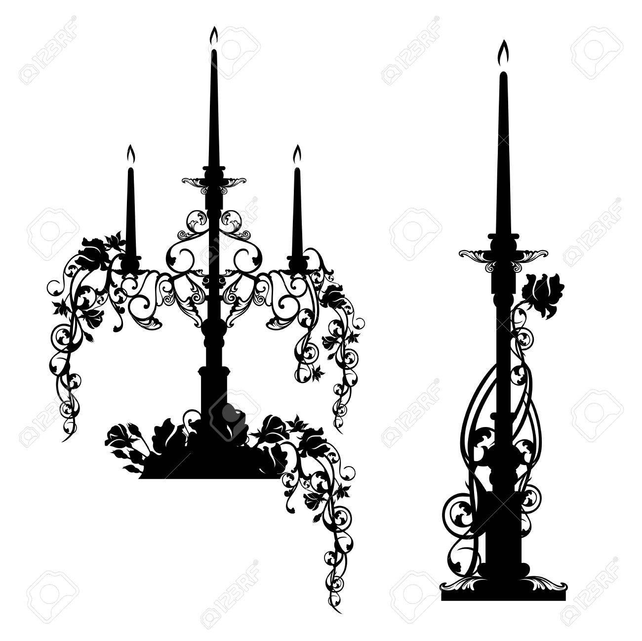 Chandeliers Elegants Parmi Les Fleurs De Rose Noir Et Blanc Jeu De