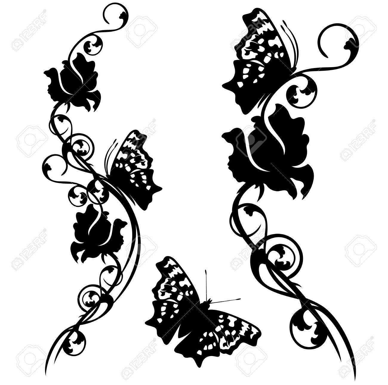 Motivos De Flores Y Mariposas Flores Color De Rosa Blanco Y Negro