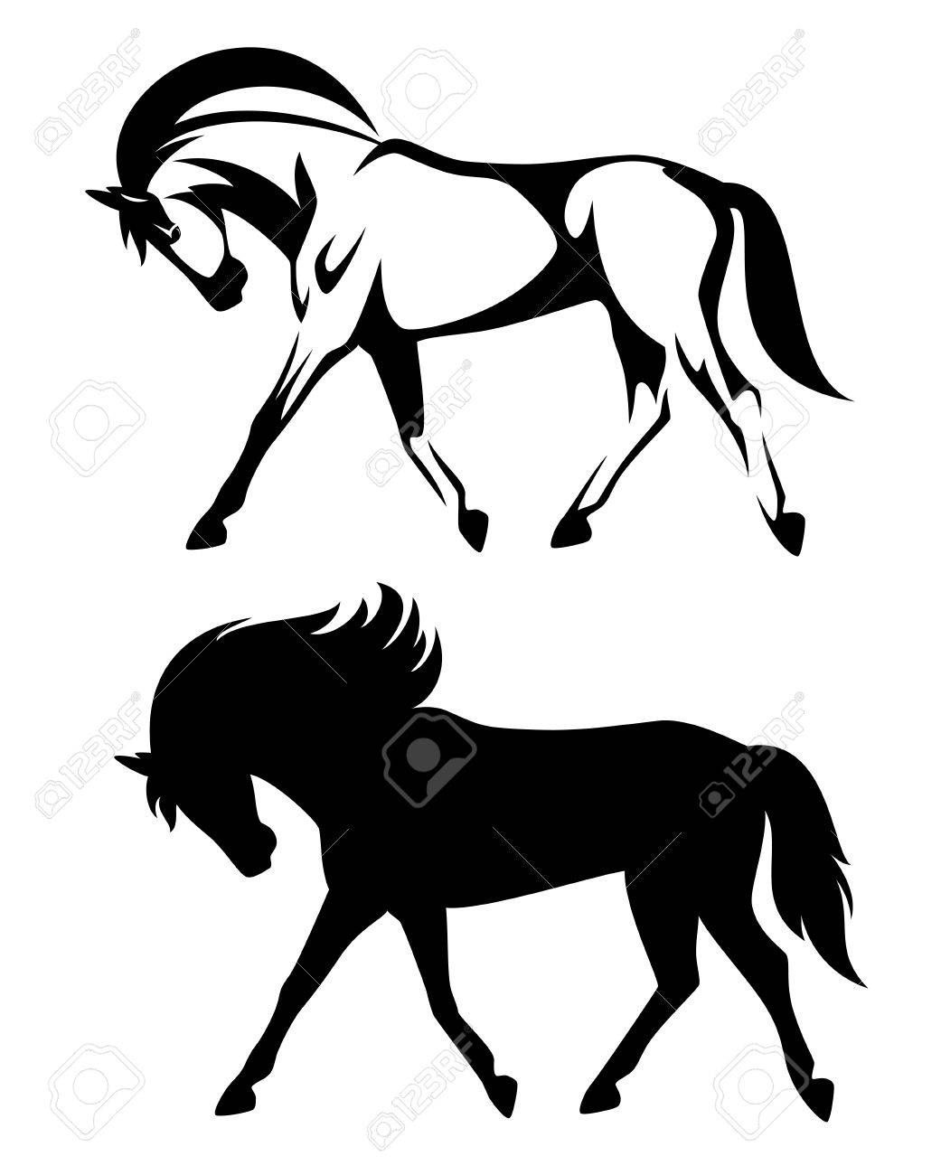 Running Horse Black And White Design Side View Outline And Royalty Free Cliparts Vectors And Stock Illustration Image 59929499