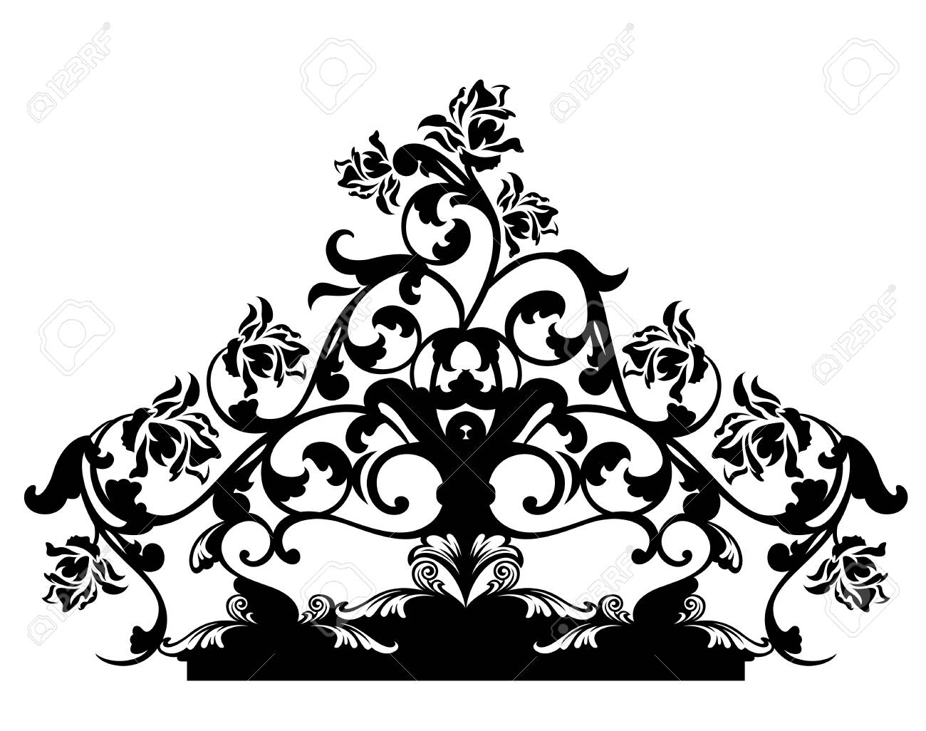 Rose Flowers Calligraphic Design Black And White Vector Decor