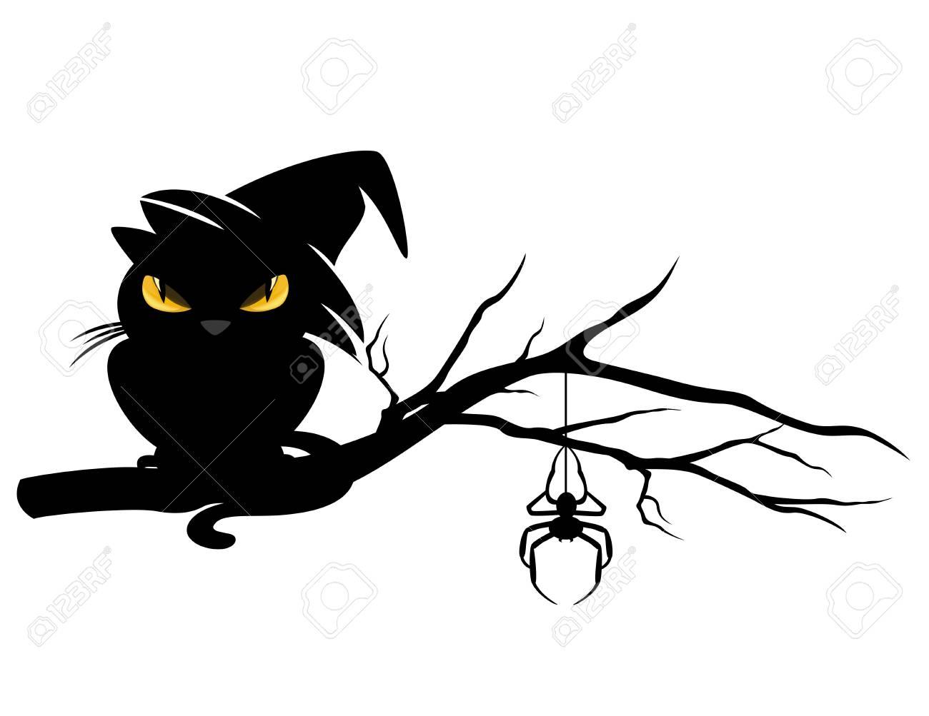 Theme Halloween Mal Chat Noir Portant Chapeau De Sorciere Et