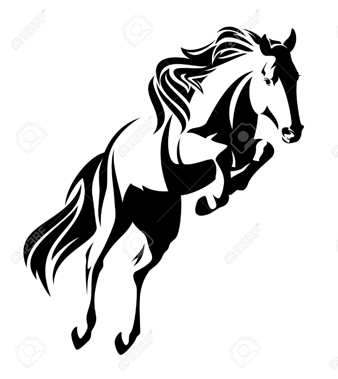 Jumping Horse Black And White Vector Outline Monochrome Equine Royalty Free Cliparts Vectors And Stock Illustration Image 68815856