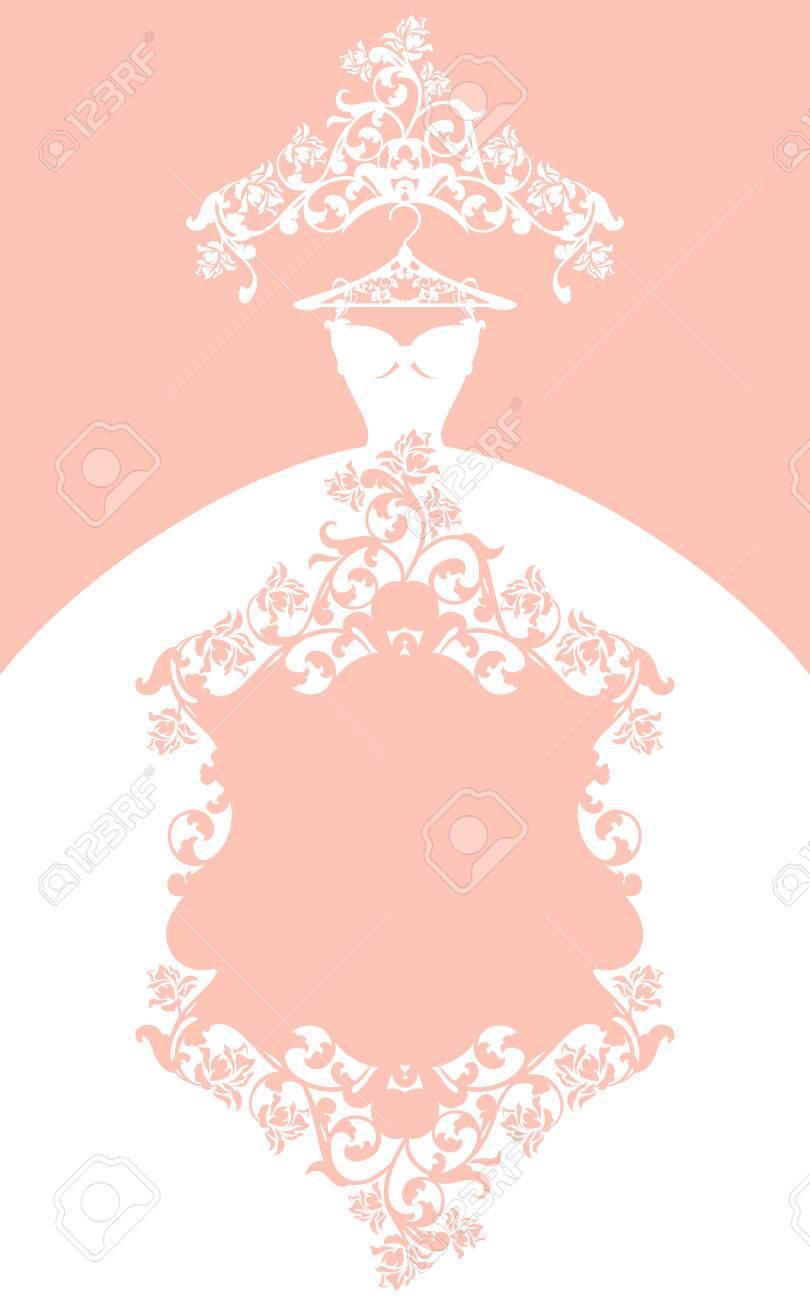 Diseño De Vestido De Novia - Elegante Tarjeta De Vector De Color ...