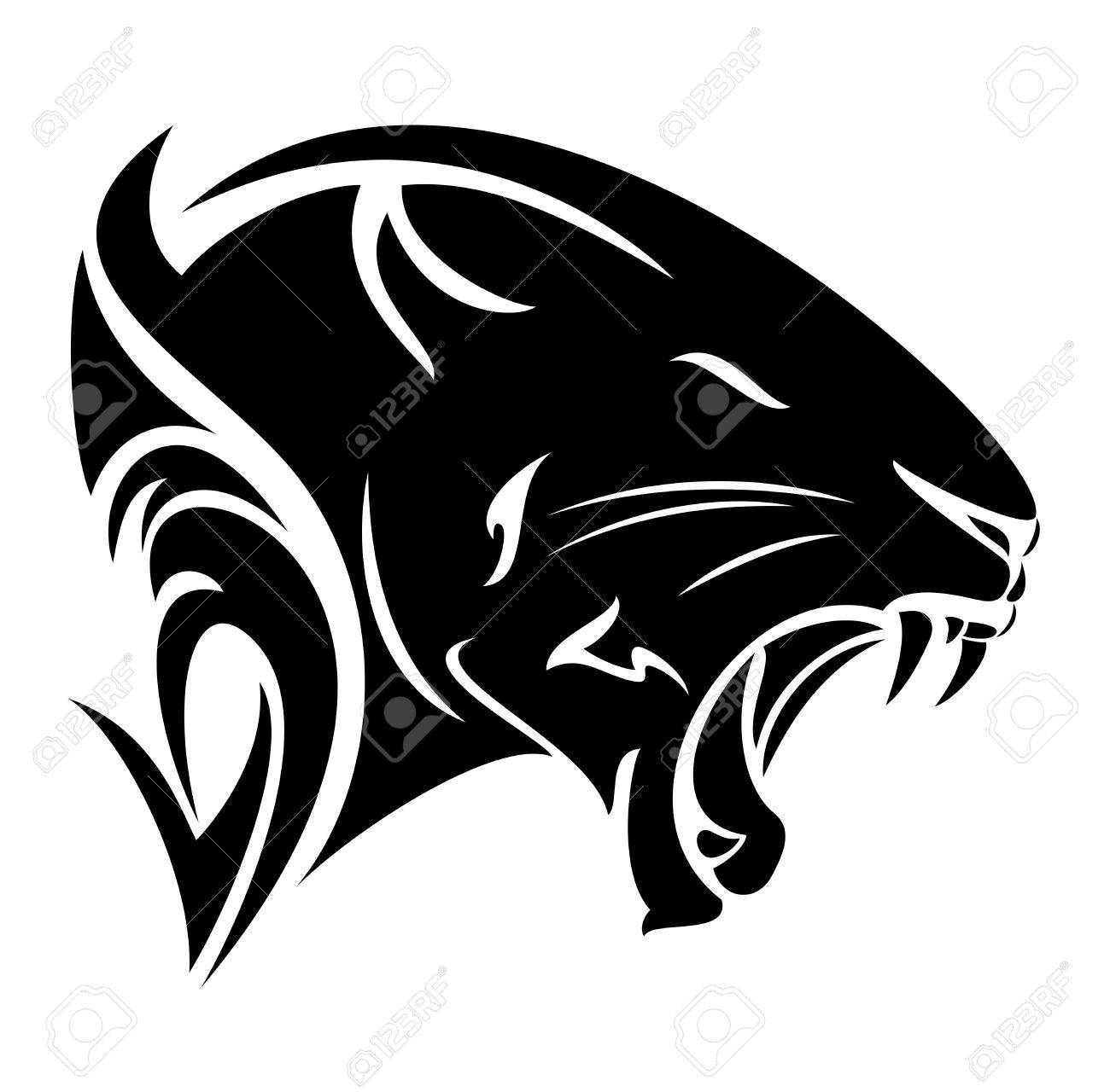 Black Panther Profile Head Roaring Big Cat Vector Design Royalty Free Cliparts Vectors And Stock Illustration Image 69428523