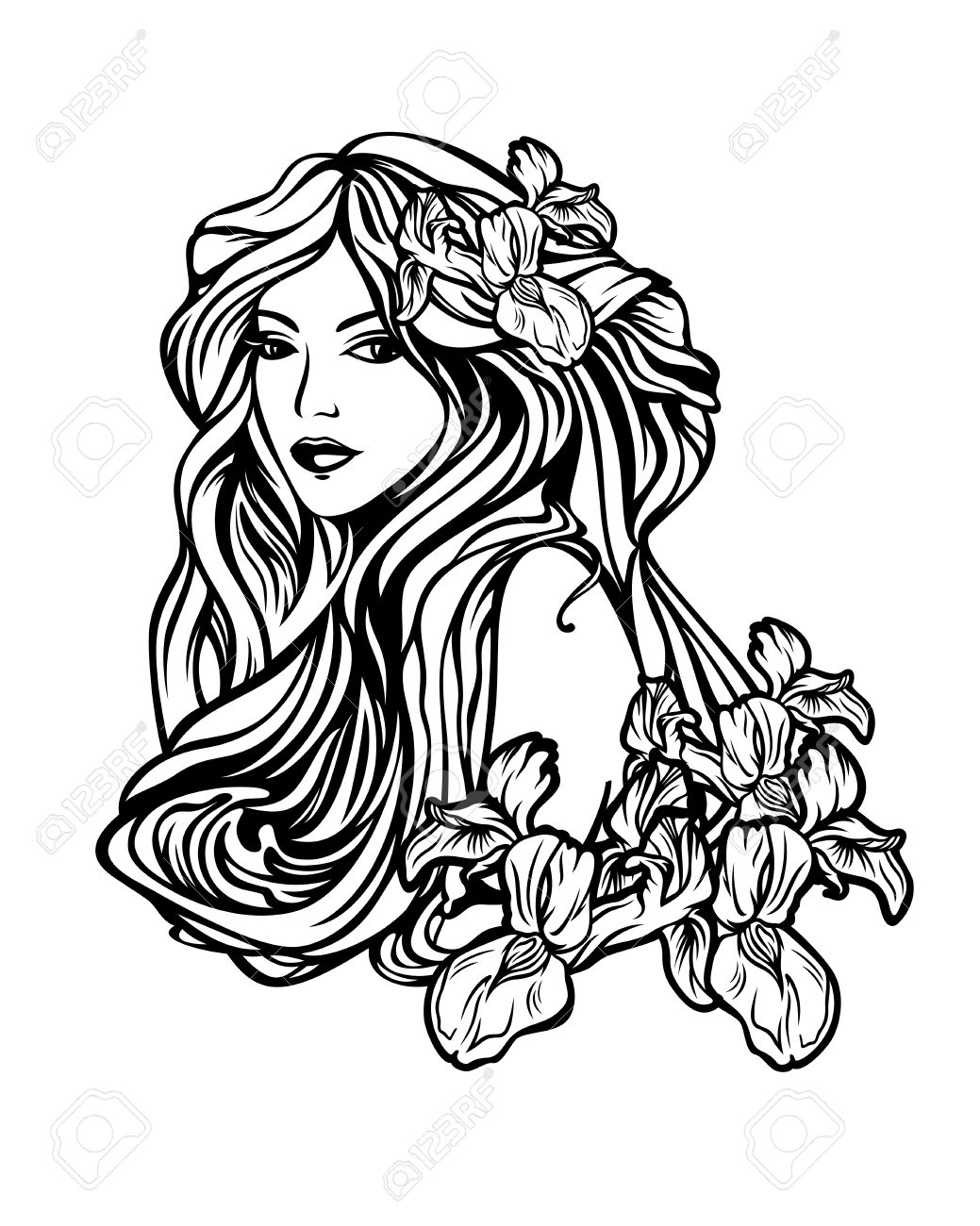 art nouveau woman stock photos and images 123rf Black and Gold Art Deco beautiful woman with long hair among iris flowers art nouveau style vector illustration