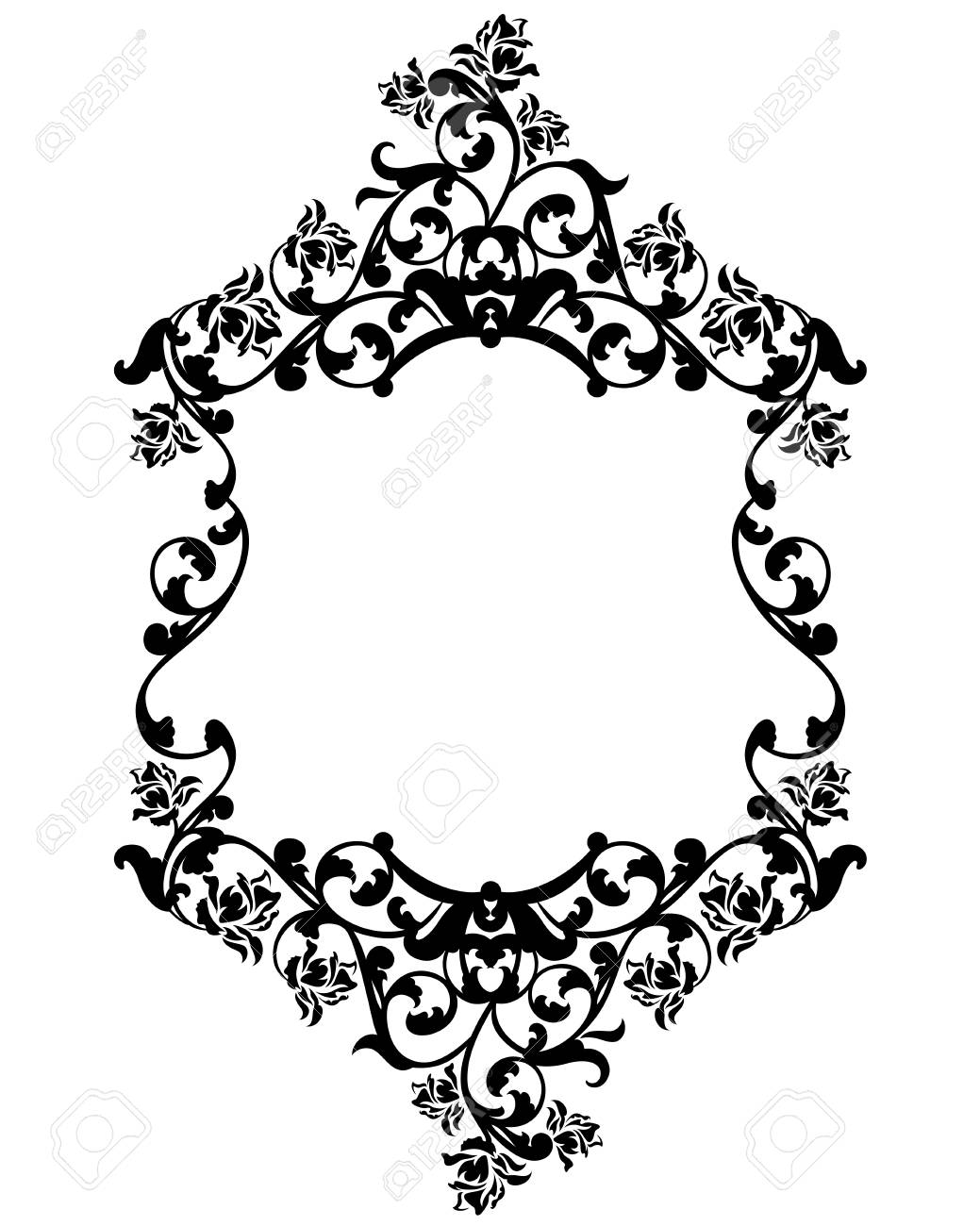 Rose Flowers Black And White Vintage Style Vector Frame Decorative Design Stock