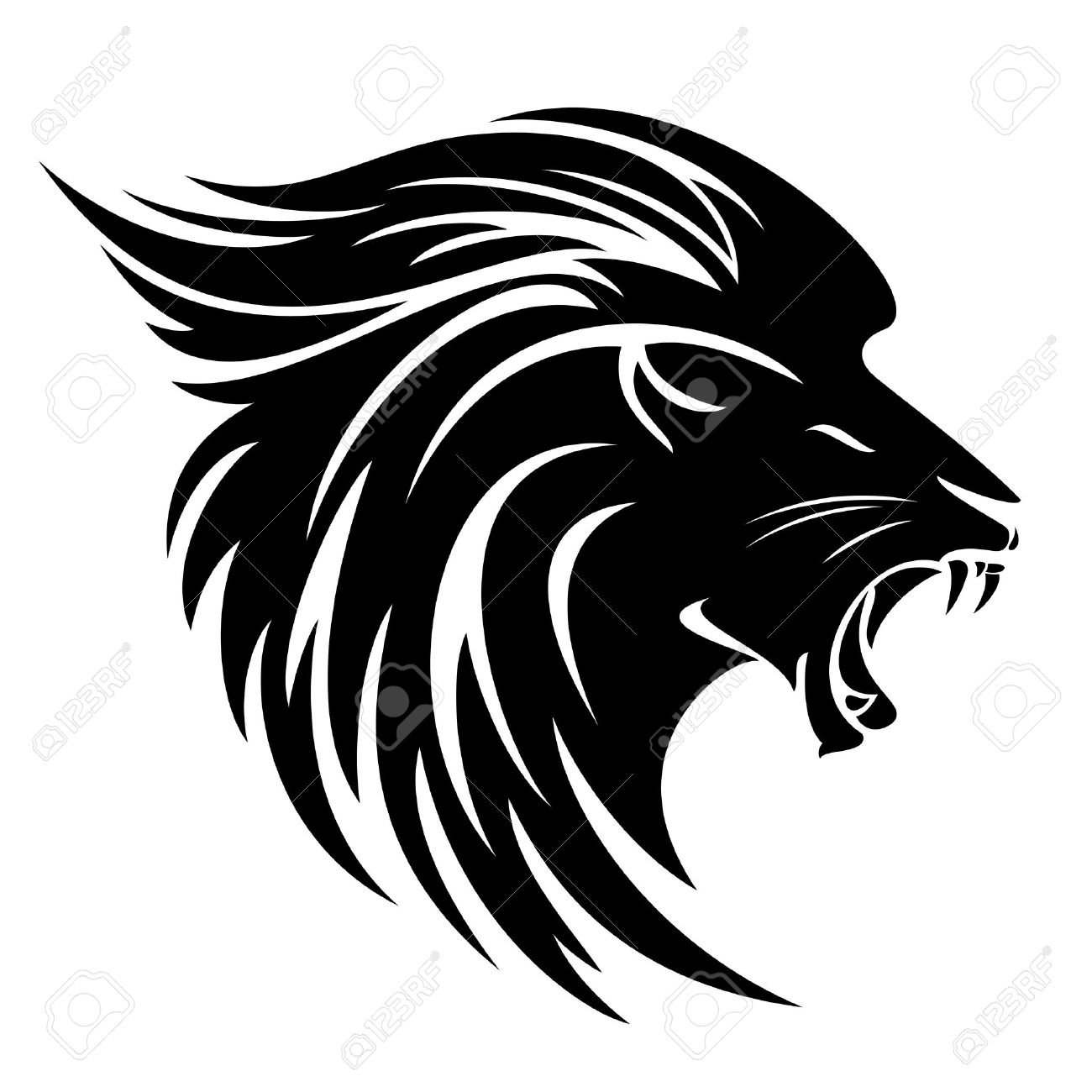 Lion head side view tribal design - black and white vector animal - 73235757
