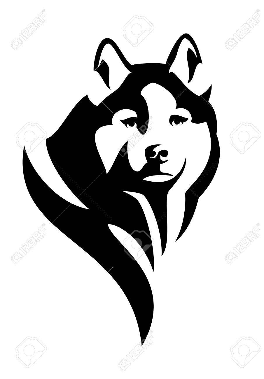 husky dog head black and white vector design royalty free cliparts rh 123rf com black and white christmas vector art black and white vector art of tiki bar