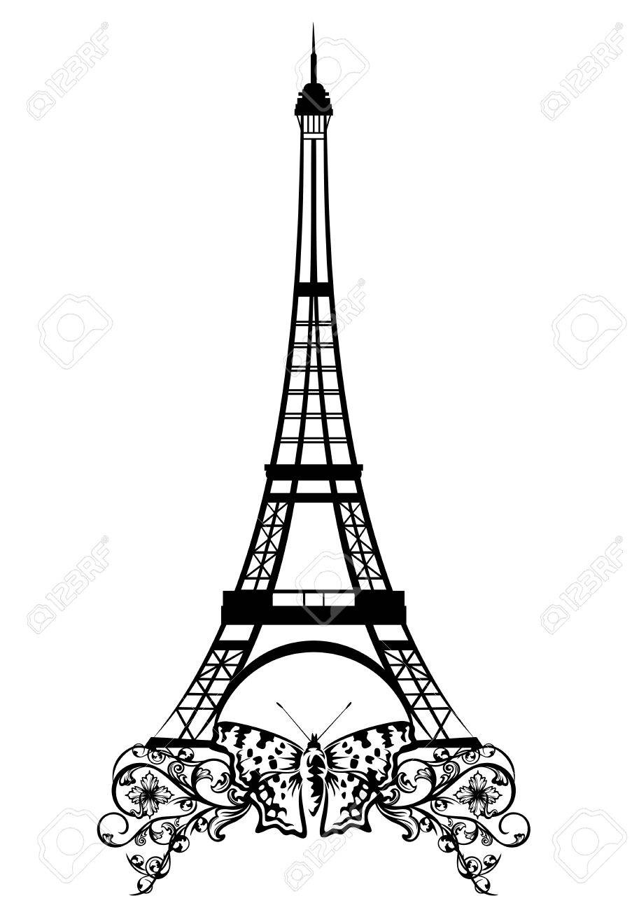 Eiffel tower with butterfly and flowers black and white vector eiffel tower with butterfly and flowers black and white vector design of paris landmark stock thecheapjerseys Gallery