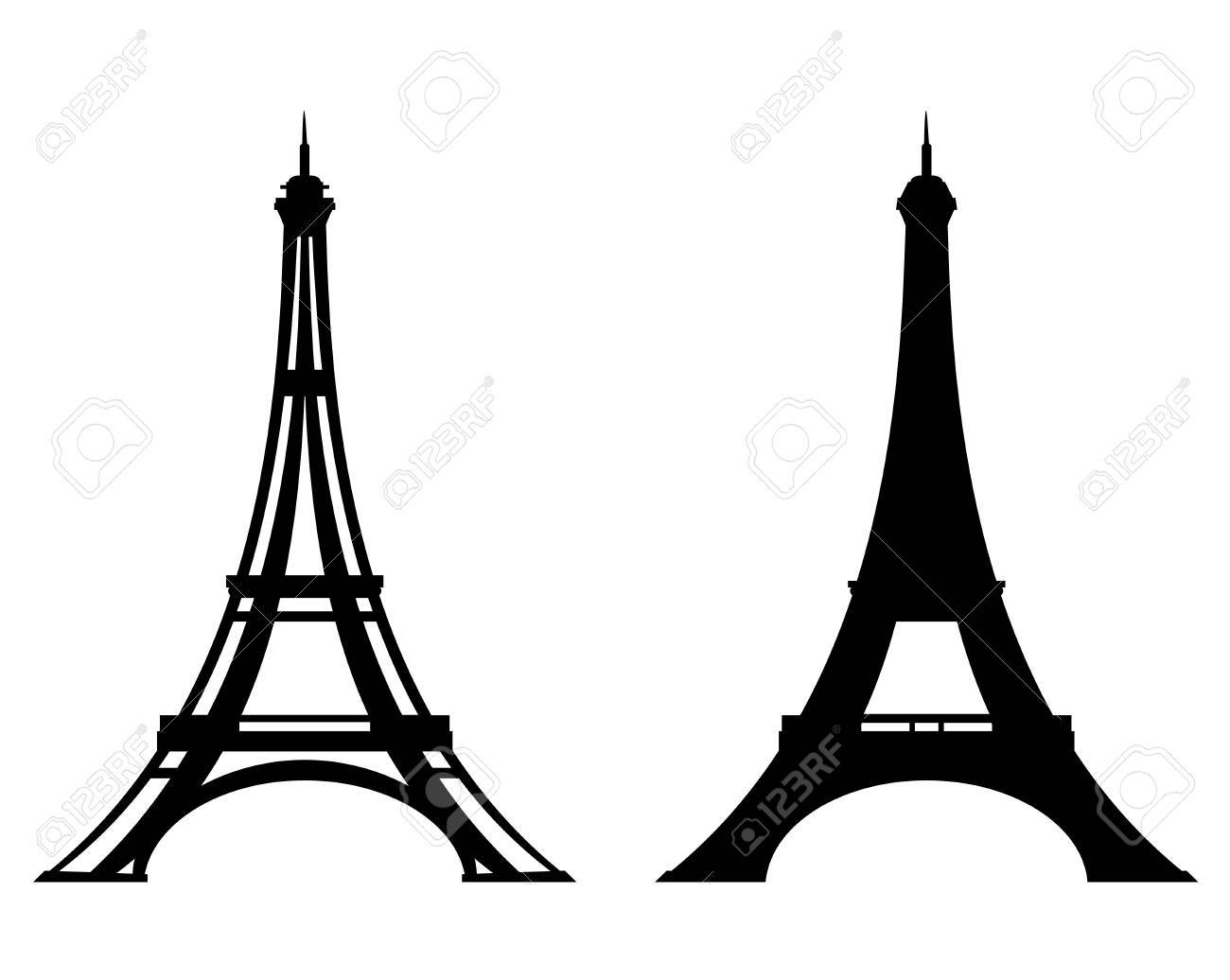 Eiffel tower stylized outline and silhouette paris and france eiffel tower stylized outline and silhouette paris and france black vector design set stock vector thecheapjerseys Gallery